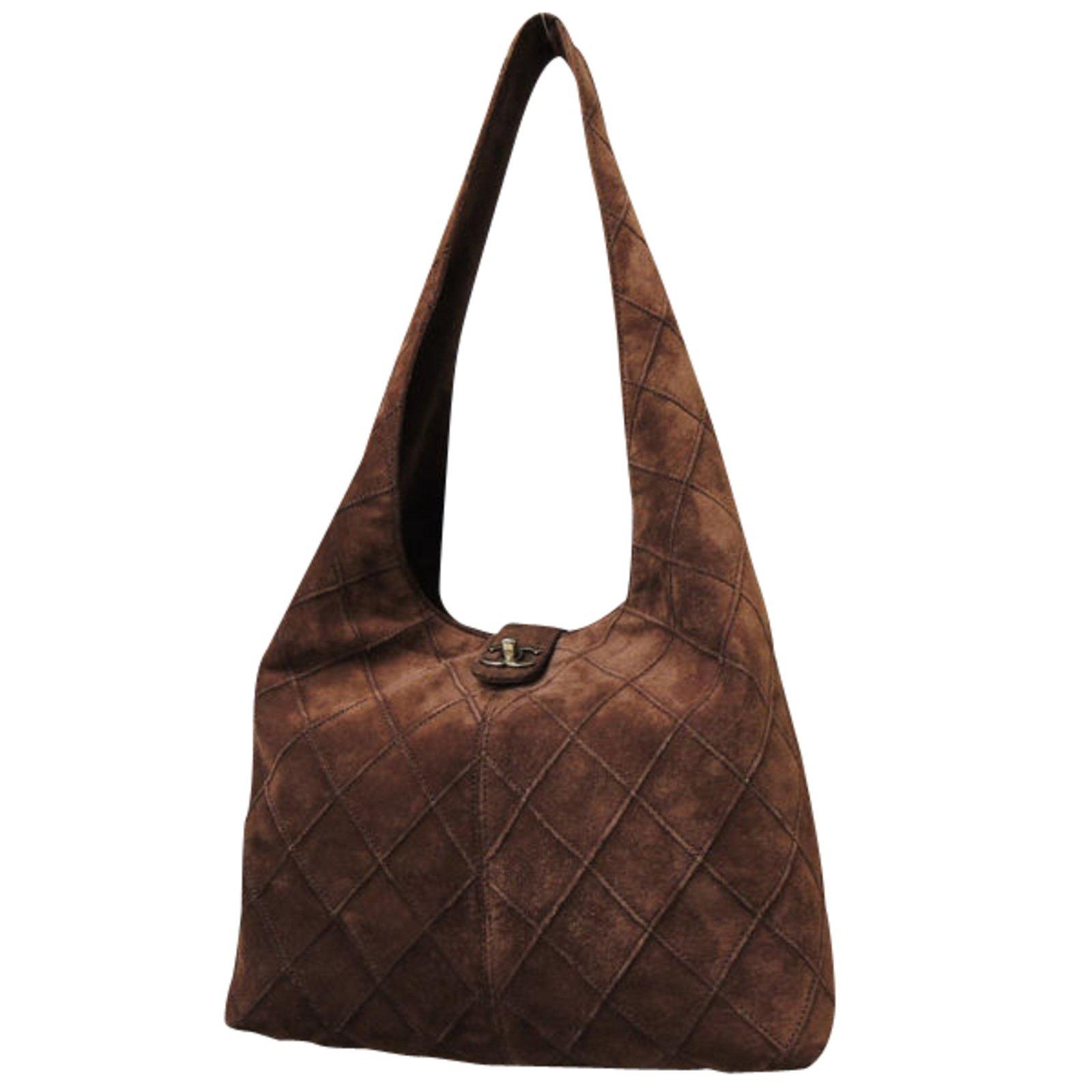 Chanel Dark brown Handbags Suede Brown ref.86825 - Joli Closet 93132cf71ccb