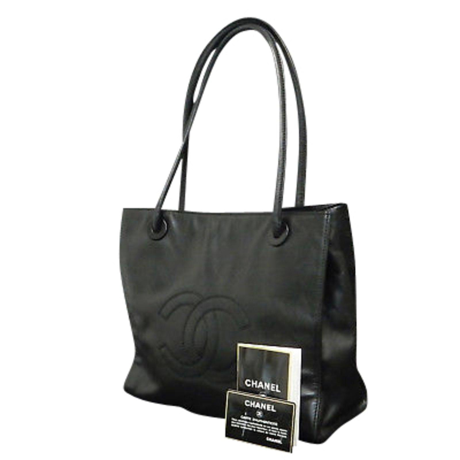 Chanel Lamb Skin Black CC Logos Shoulder bag Handbags Lambskin Black ref.86840