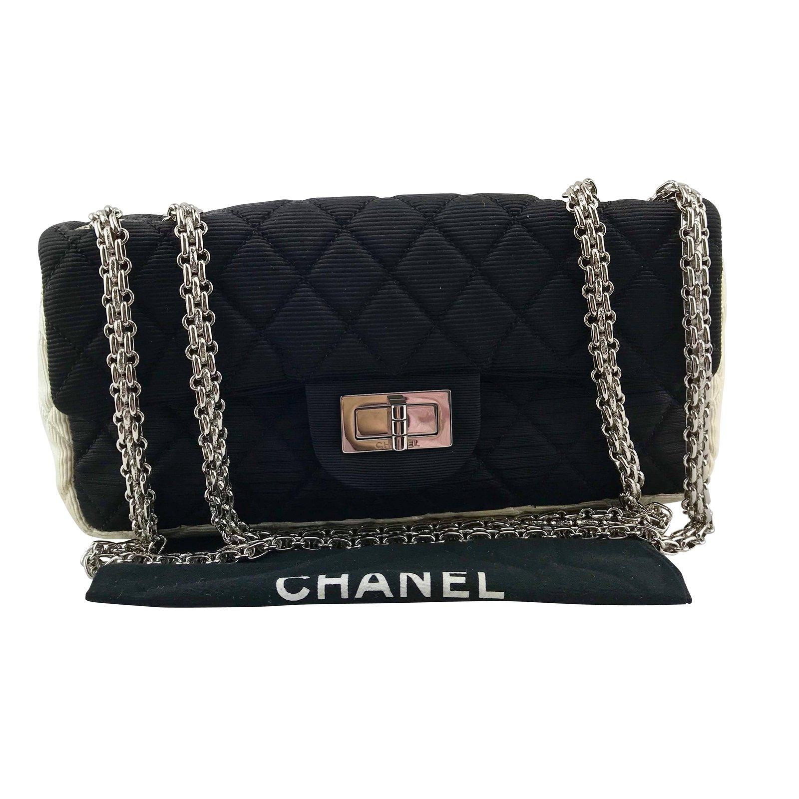 ccf6c3afd8 Sacs à main Chanel CHANEL 2.55 textile noir et blanc Autre Noir ref.86932