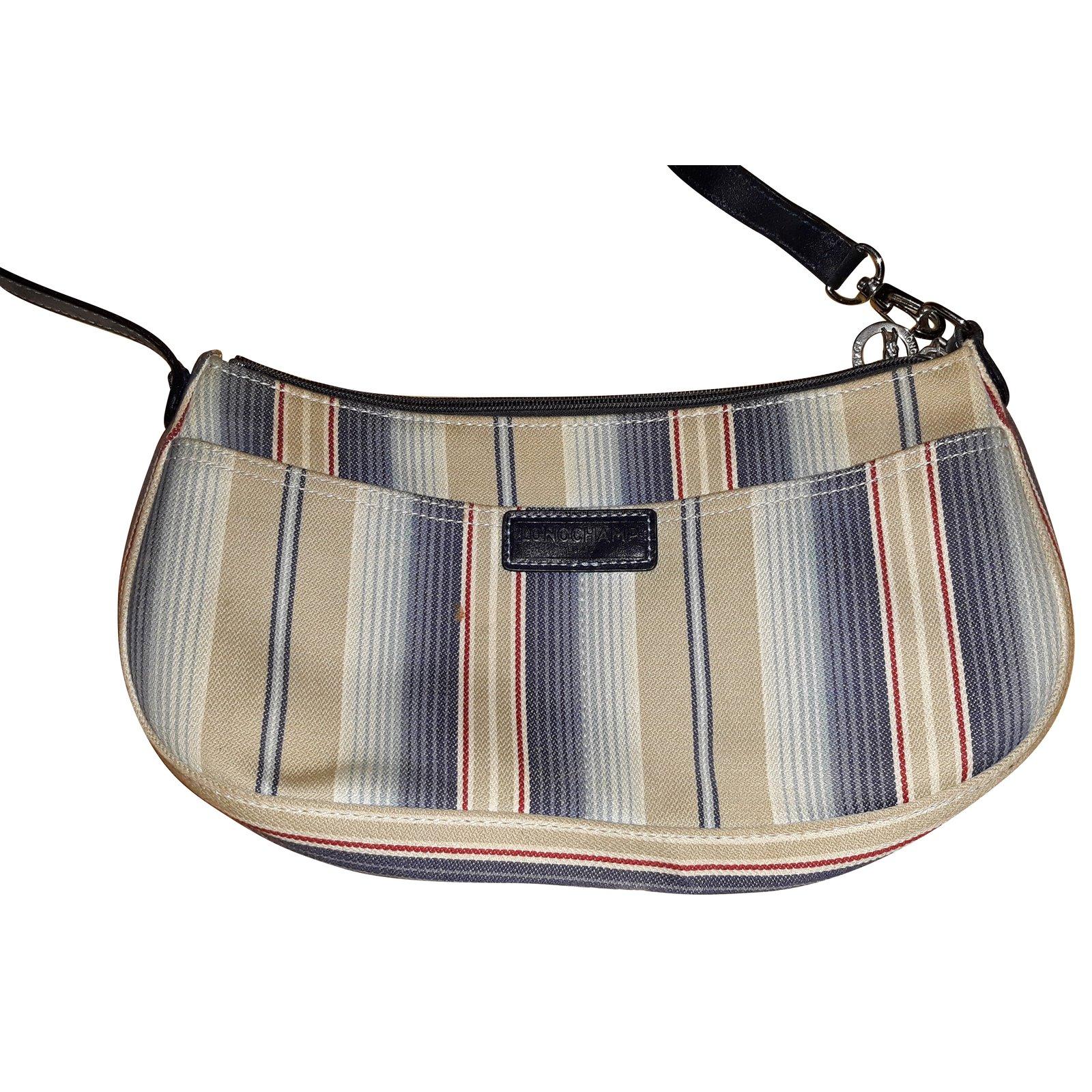 6c6ac0318 Longchamp Blue striped shoulder bag Handbags Cotton Blue ref.87222 ...