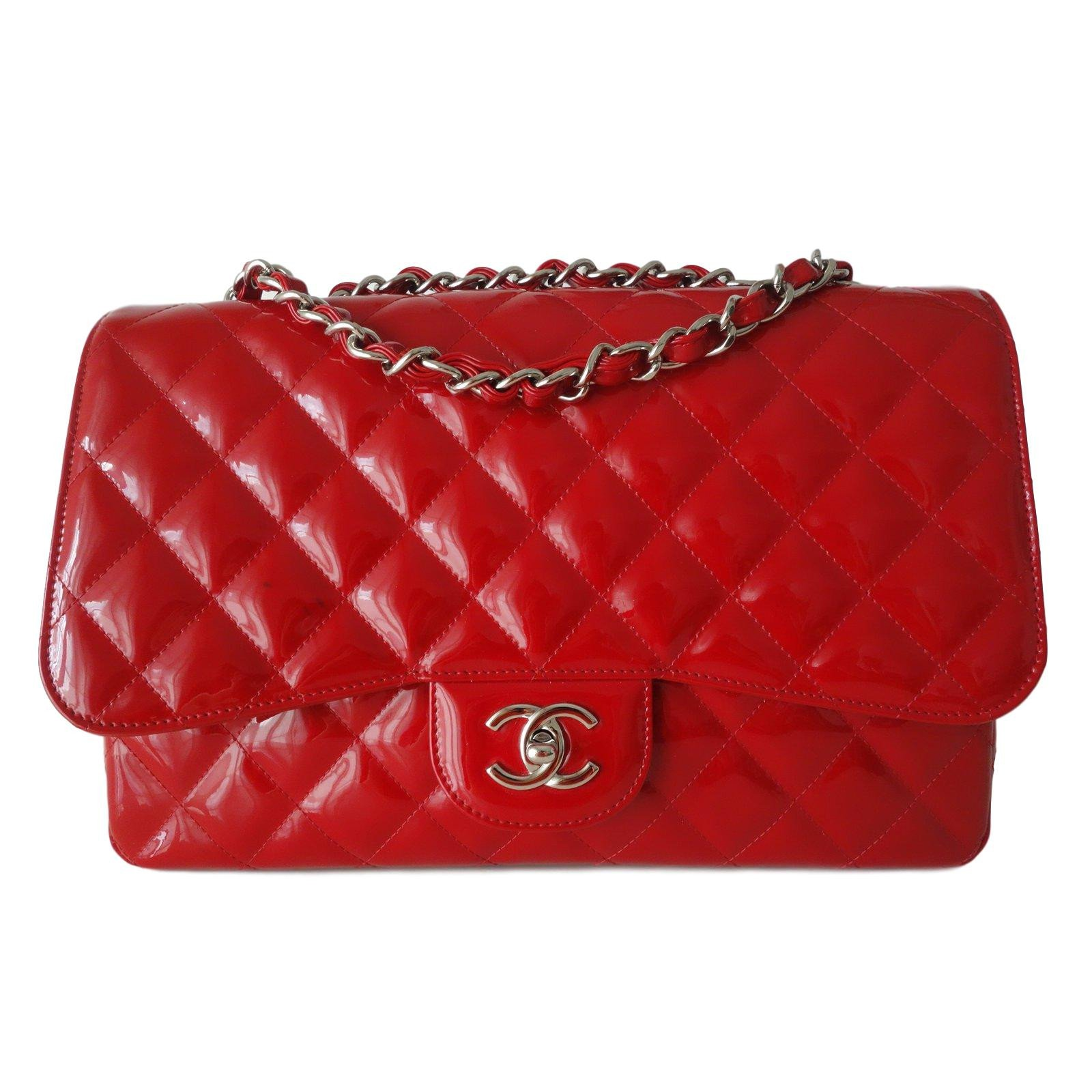 Chanel Red Classic Bag Handbags Patent Leather Ref 87263