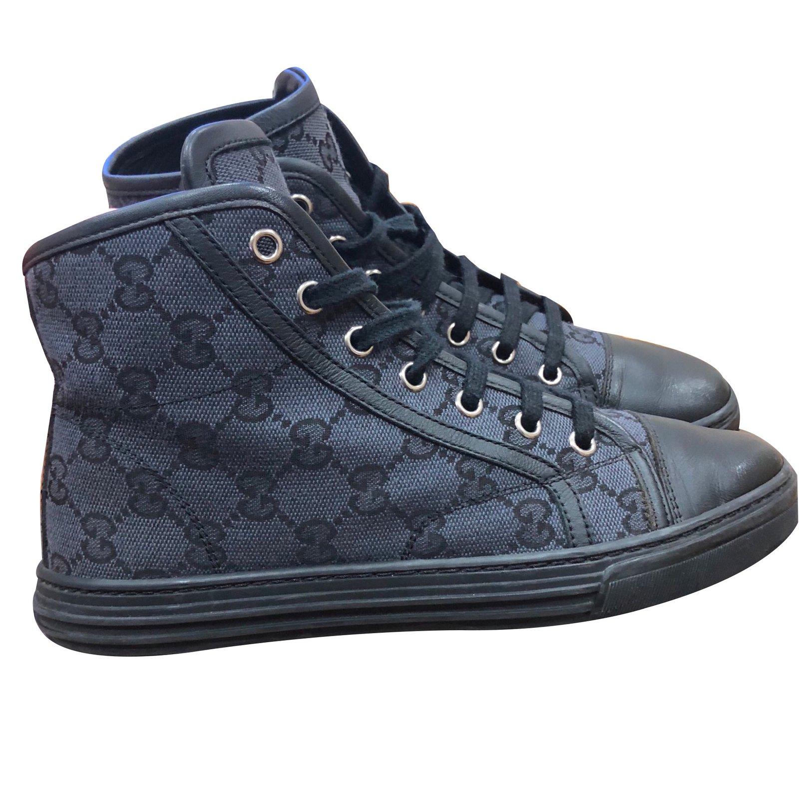 d8cabf4ce9c Gucci Hi top monogram trainers Sneakers Cloth Black ref.87369 - Joli ...