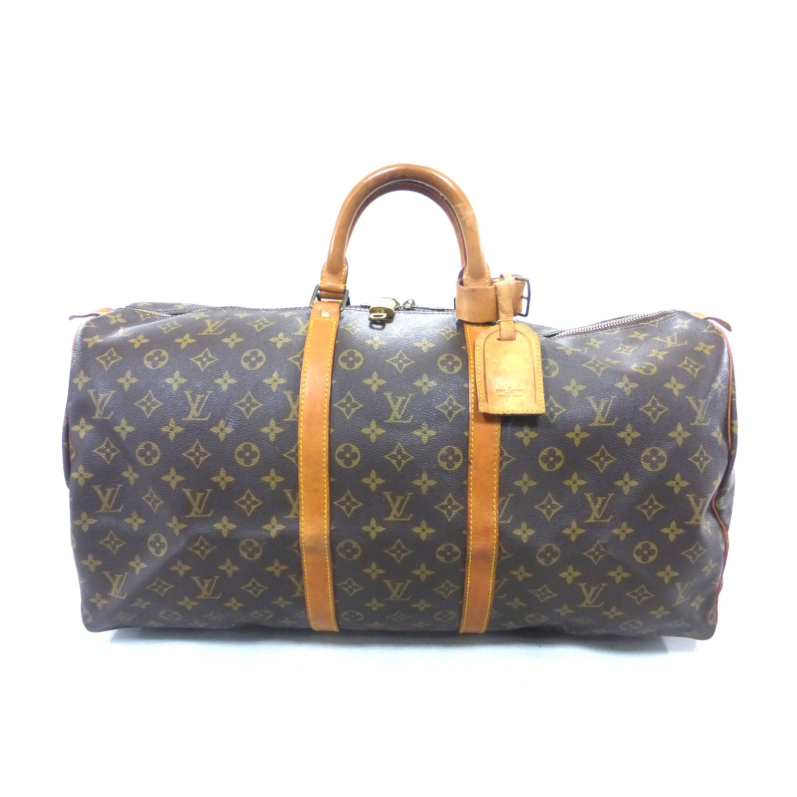 f2e865b7390e Louis Vuitton Keepall 55 monogram Travel bag Leather Brown ref.87425