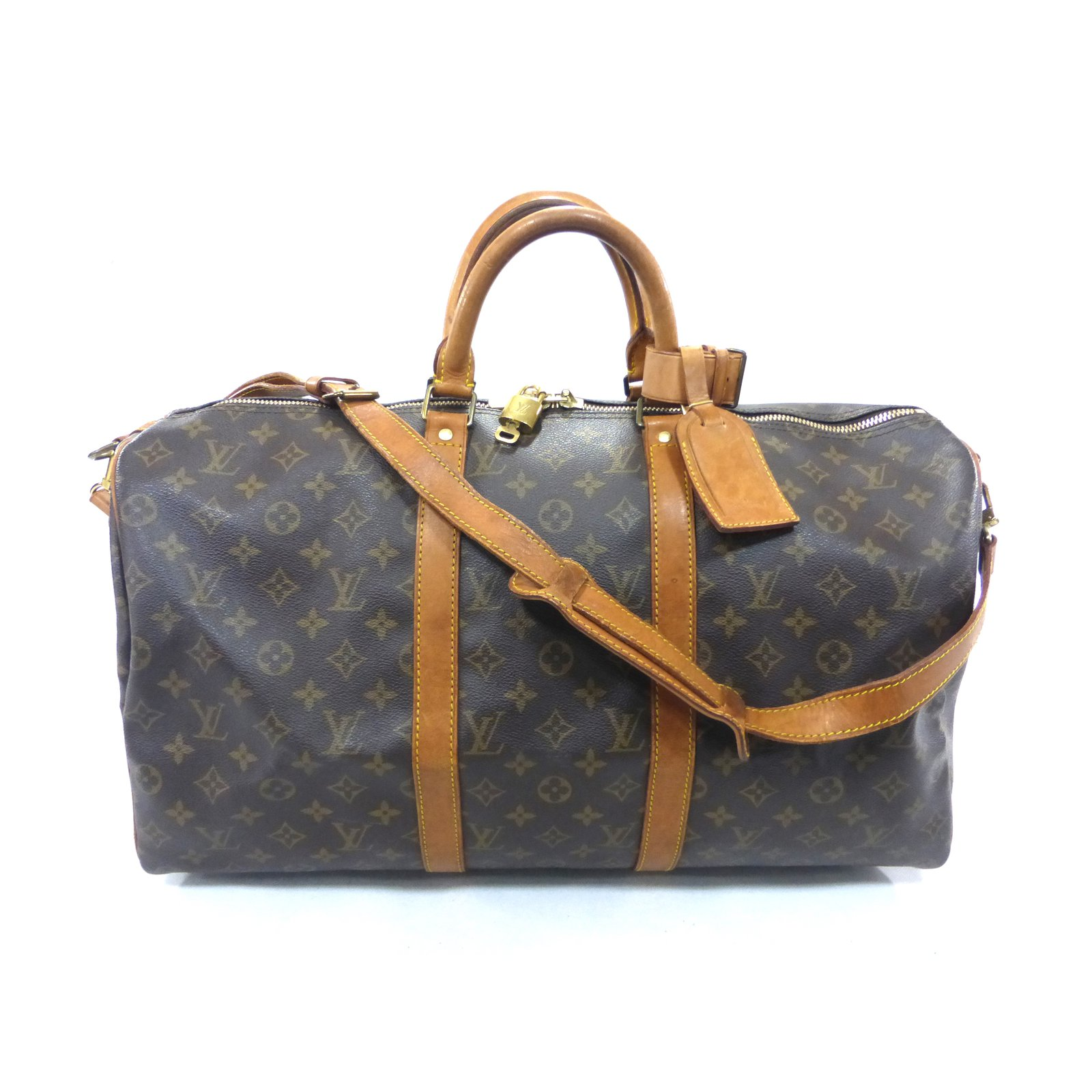 370aae22093d Louis Vuitton Keepall 50 bandouliere monogram Travel bag Leather Brown  ref.87428