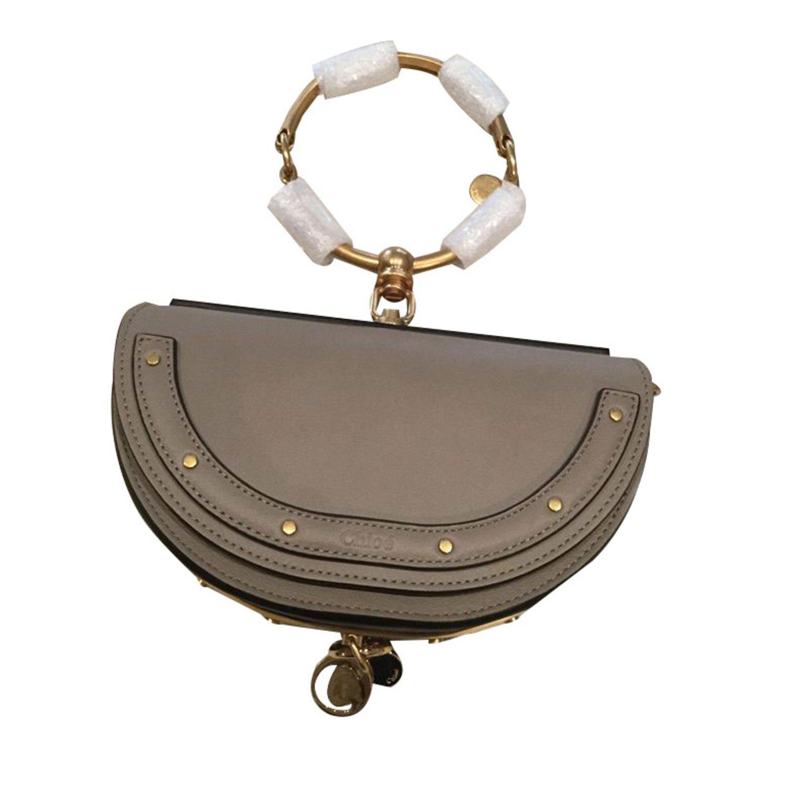 Chloé Clutch Bags Leather Grey Ref 87763 Joli