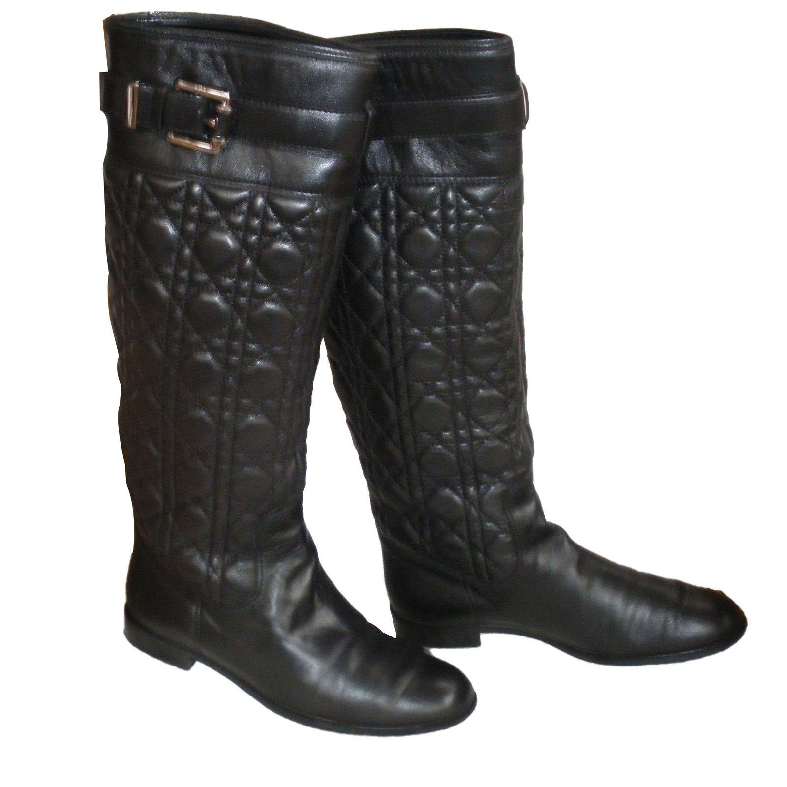 163b06471 Dior Boots Boots Leather Black ref.87851 - Joli Closet