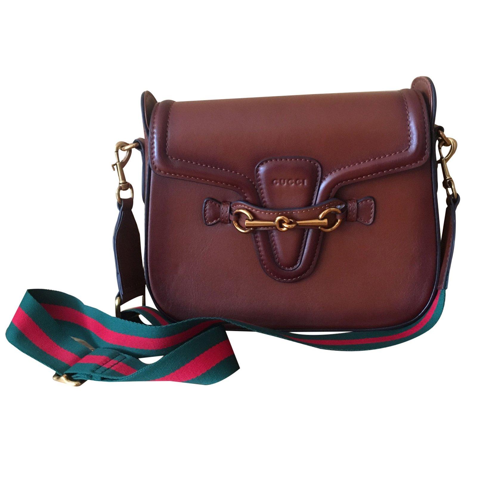 Gucci Lady Web Handbags Leather Brown Ref 87915 Joli Closet