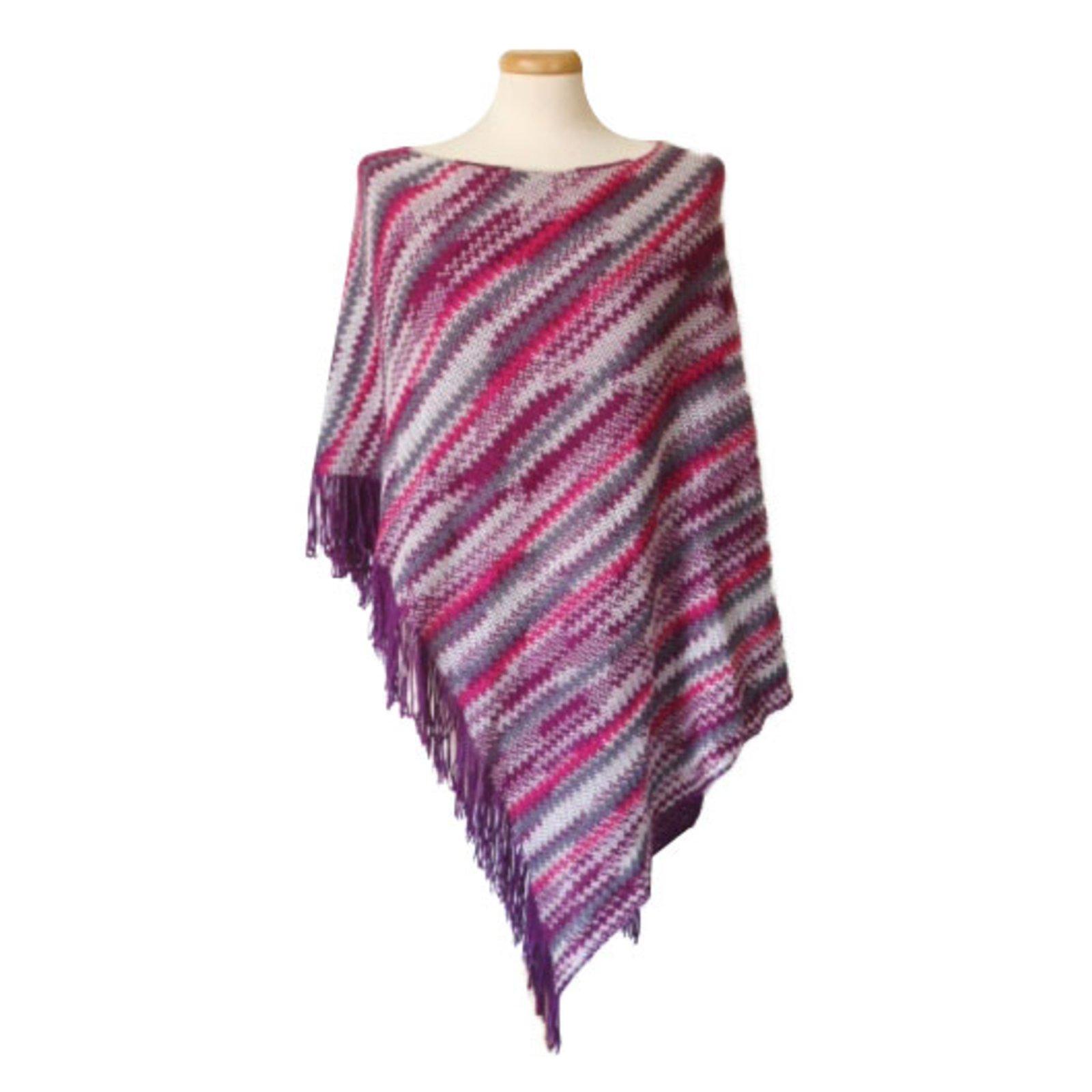 Pulls, Gilets Missoni Écharpe cape poncho en laine légère à rayures  multicolores Laine Multicolore ref b8c4da6224b