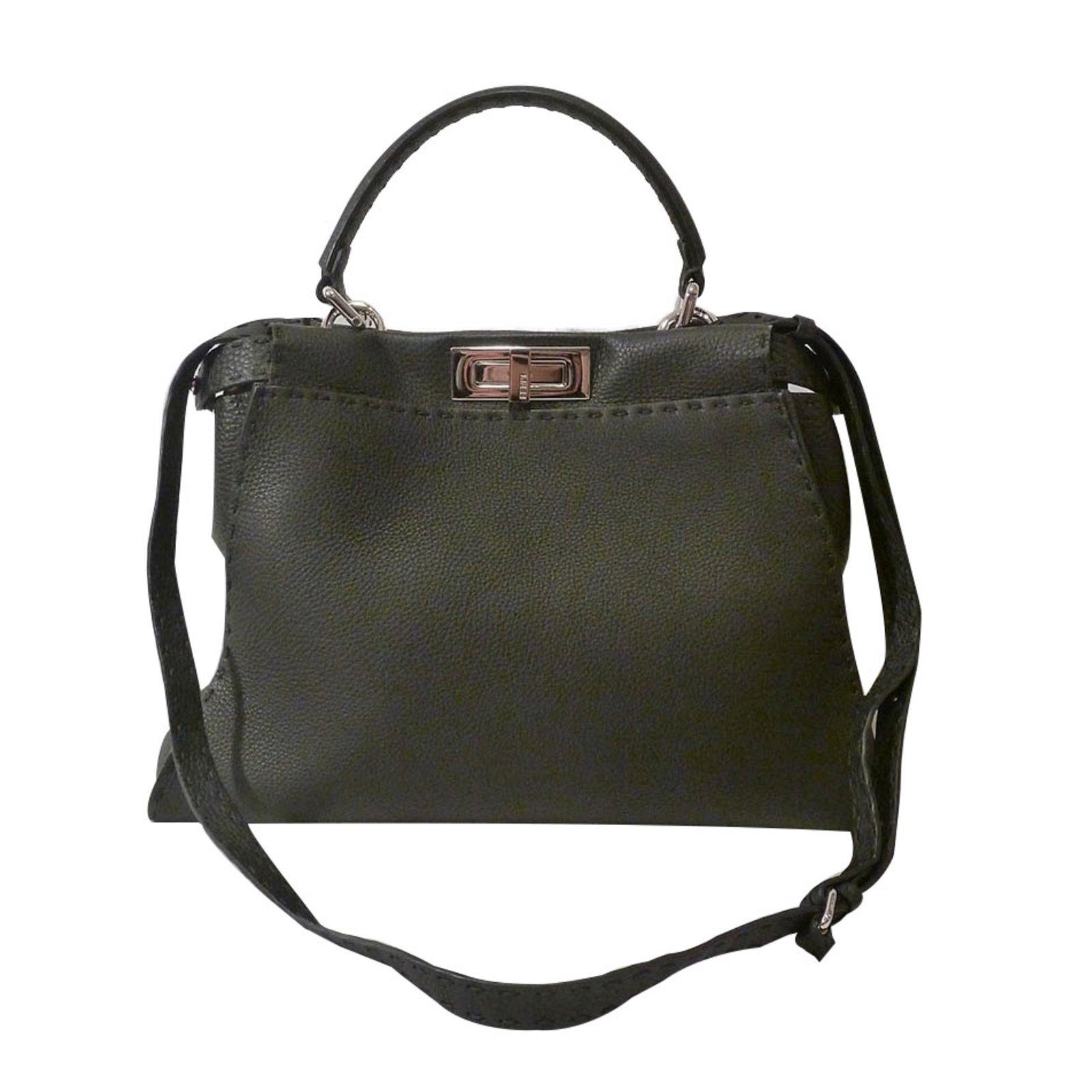3235626477ef Fendi Regular Peekaboo Satchel Bag Totes Leather Black ref.87997 ...