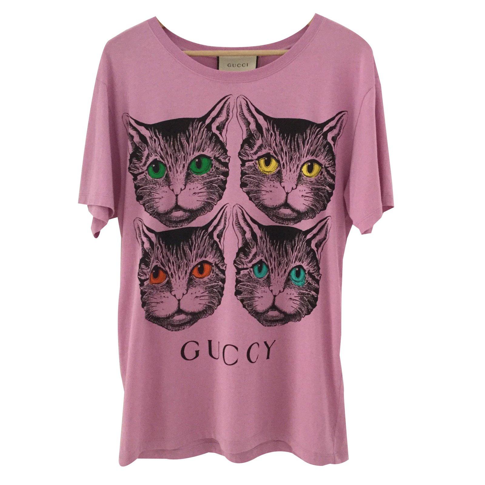 9df025bf5724 Gucci Mystic cat Tops Cotton Pink ref.88032 - Joli Closet