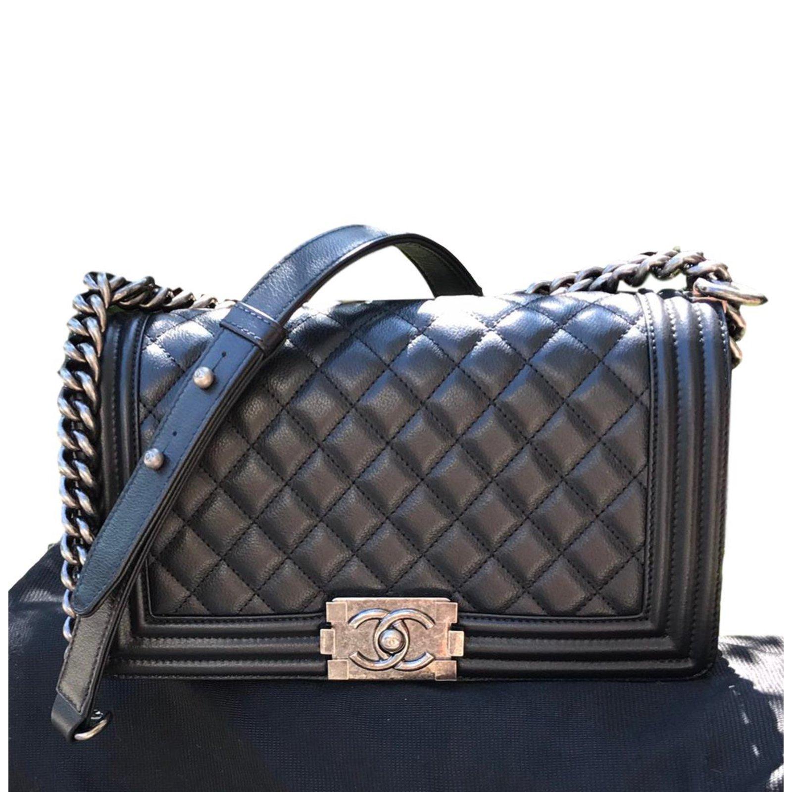 f88473cc4fda Chanel boy black old mediunm size Handbags Leather Black ref.88091 ...