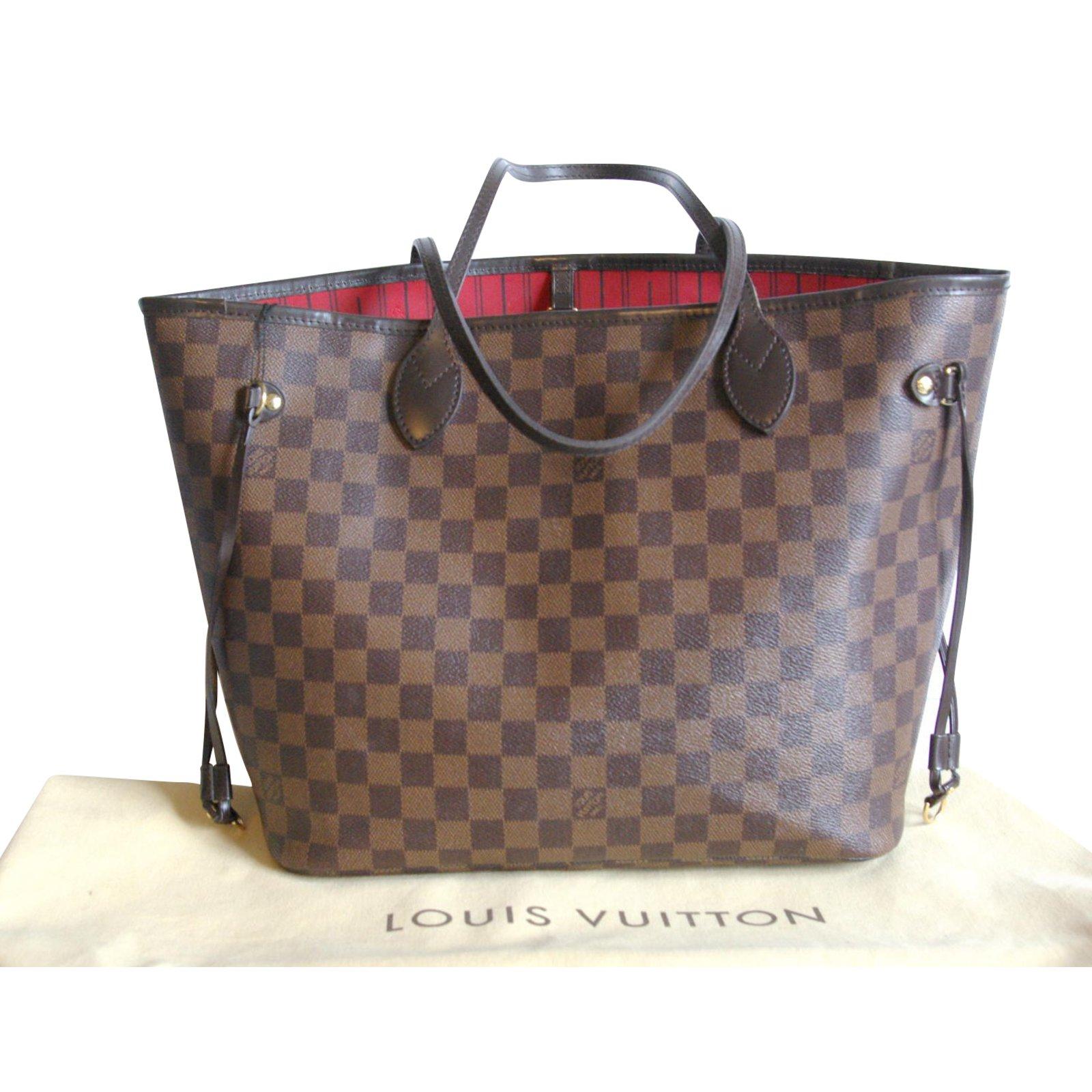 Sacs à main Louis Vuitton neverfull Cuir,Toile Rouge,Marron foncé ref.88359 1b9df4069ee
