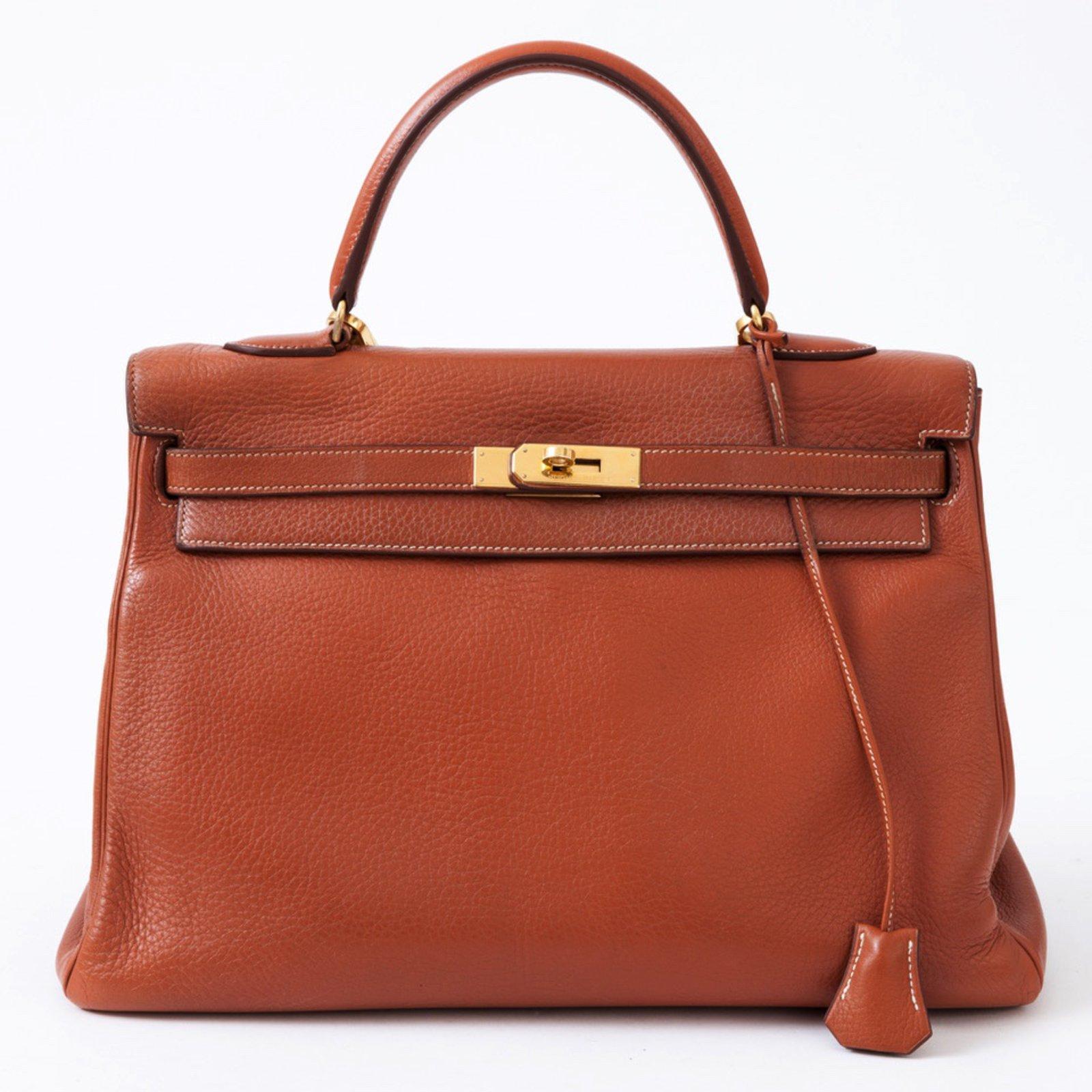 Hermès 35 Cuir En Sacs Bandoulière Main Camel Sac À Kelly 2WDYeE9HI