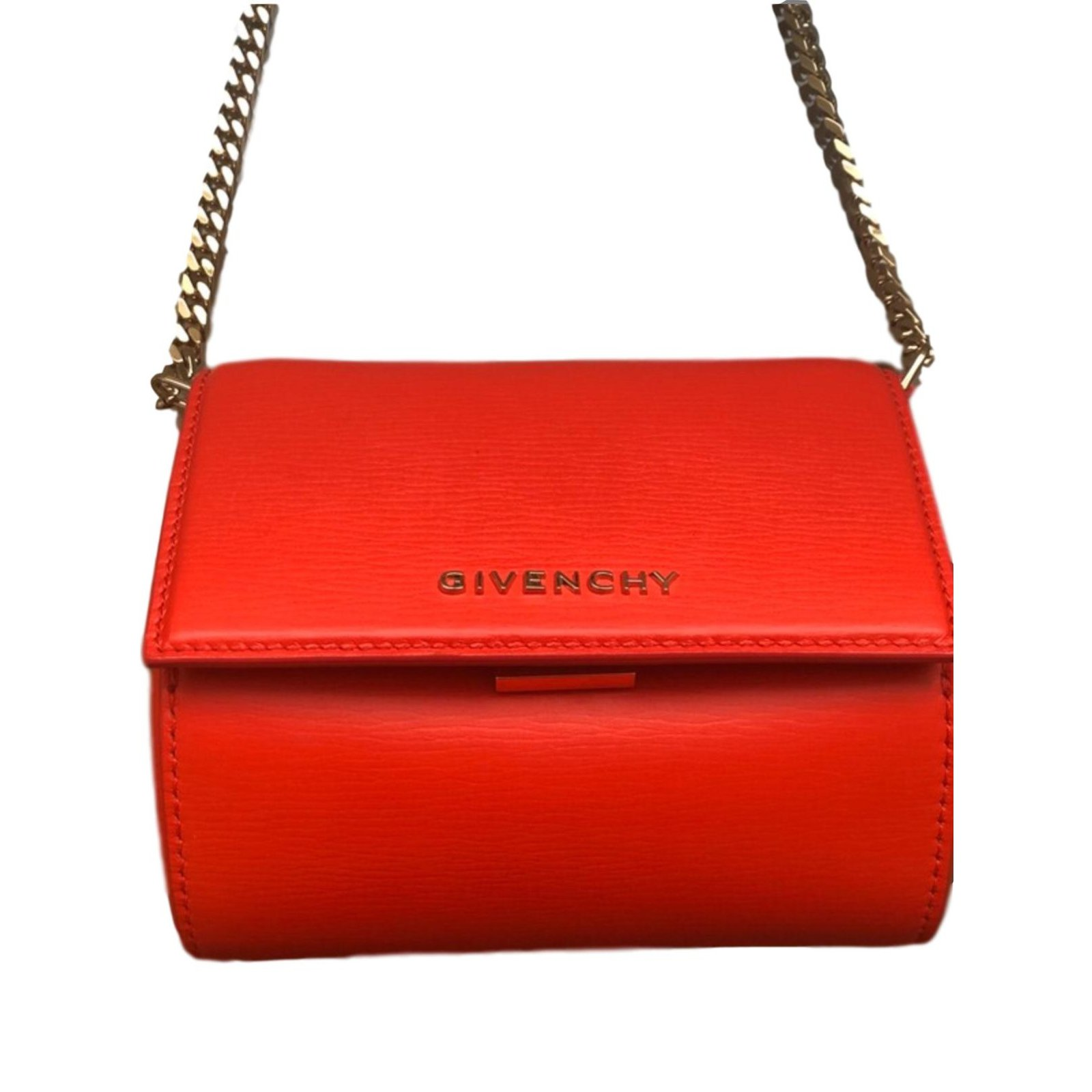 73e77957c61 Givenchy Micro pandora box Handbags Leather Orange ref.88498 - Joli ...