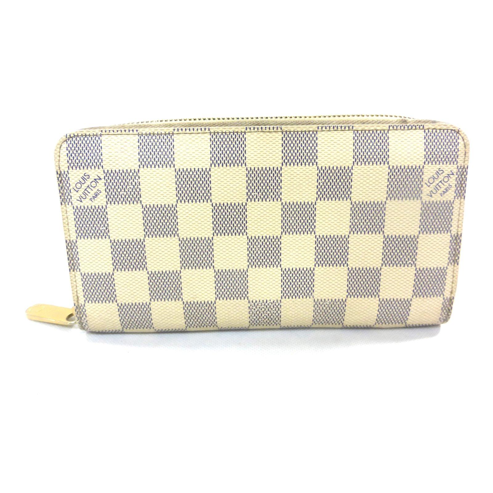 Petite maroquinerie Louis Vuitton Portefeuille zippy damier azur Cuir  Beige,Blanc cassé ref.88778 4c0fb875e9a