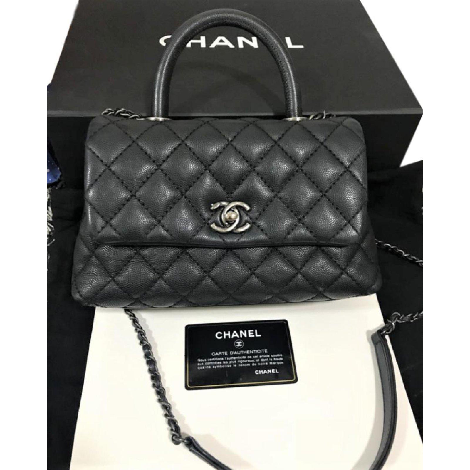 Chanel Black Caviar Coco Mini bag Handbags Leather Black ref.88977 ... 74ad4c4b39db