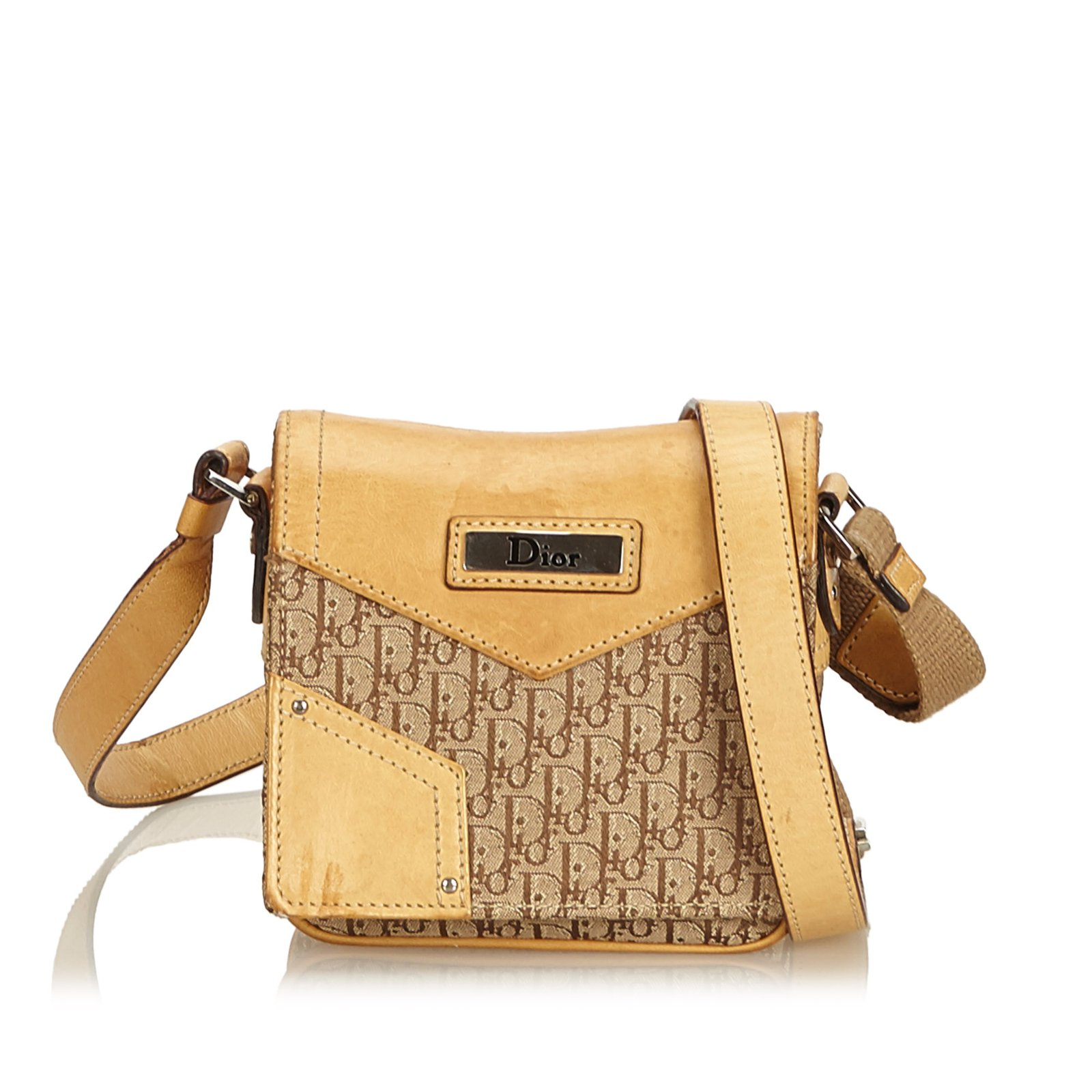 866684591 Dior Oblique Canvas Crossbody Bag Handbags Leather,Other,Cloth,Cloth Brown ,Beige