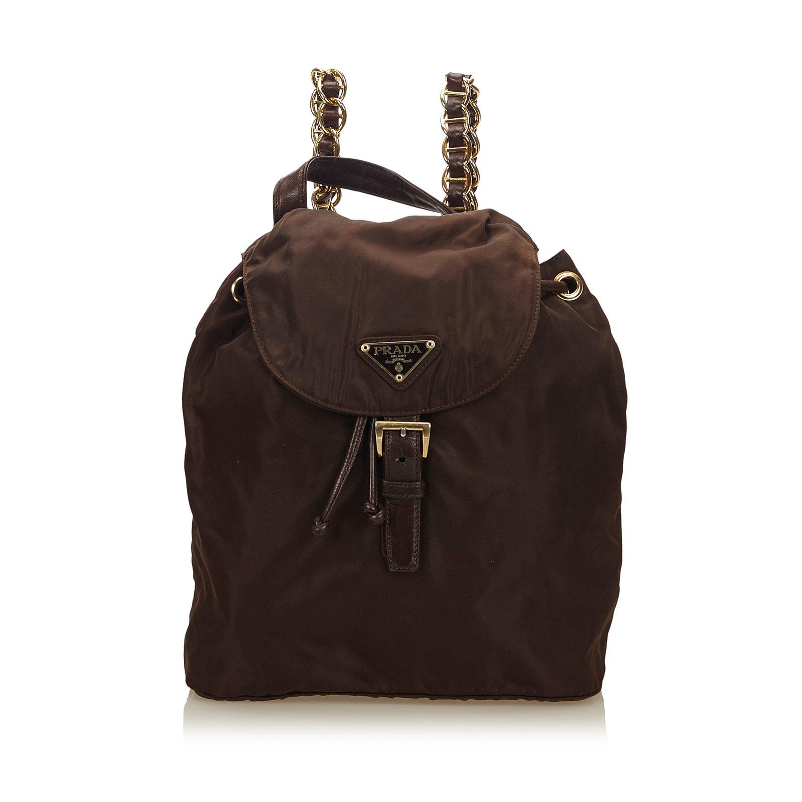 3b75920b5de8 ... coupon for prada nylon chain drawstring backpack backpacks  leatherothernyloncloth browndark ee914 176d3