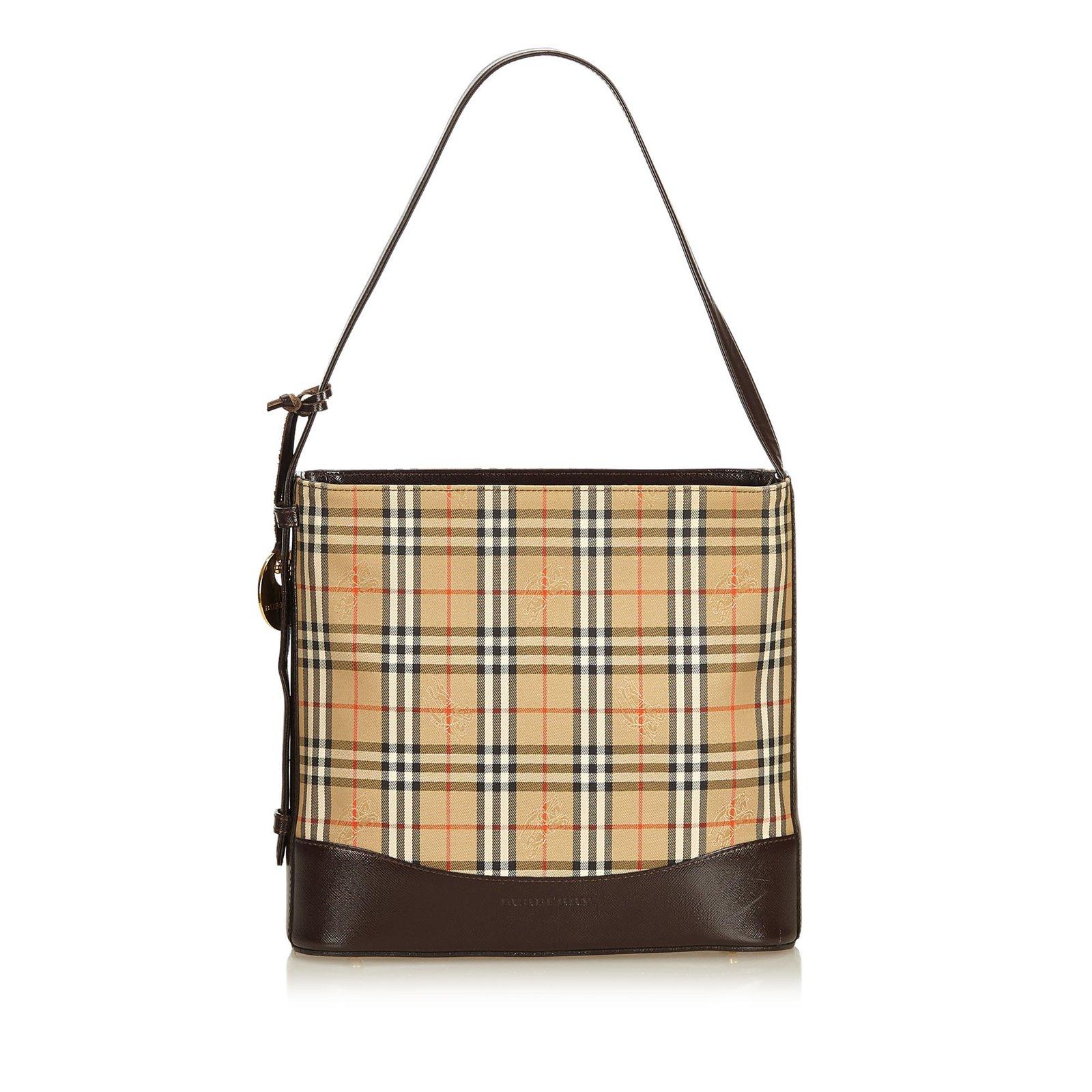715f66f644dd Burberry Haymarket Check Jacquard Shoulder Bag Handbags Leather ...