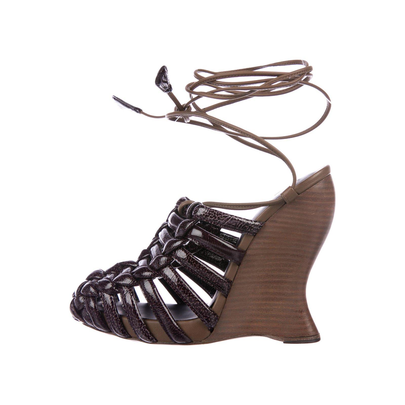 Bottega Veneta Patent Wedges Heels