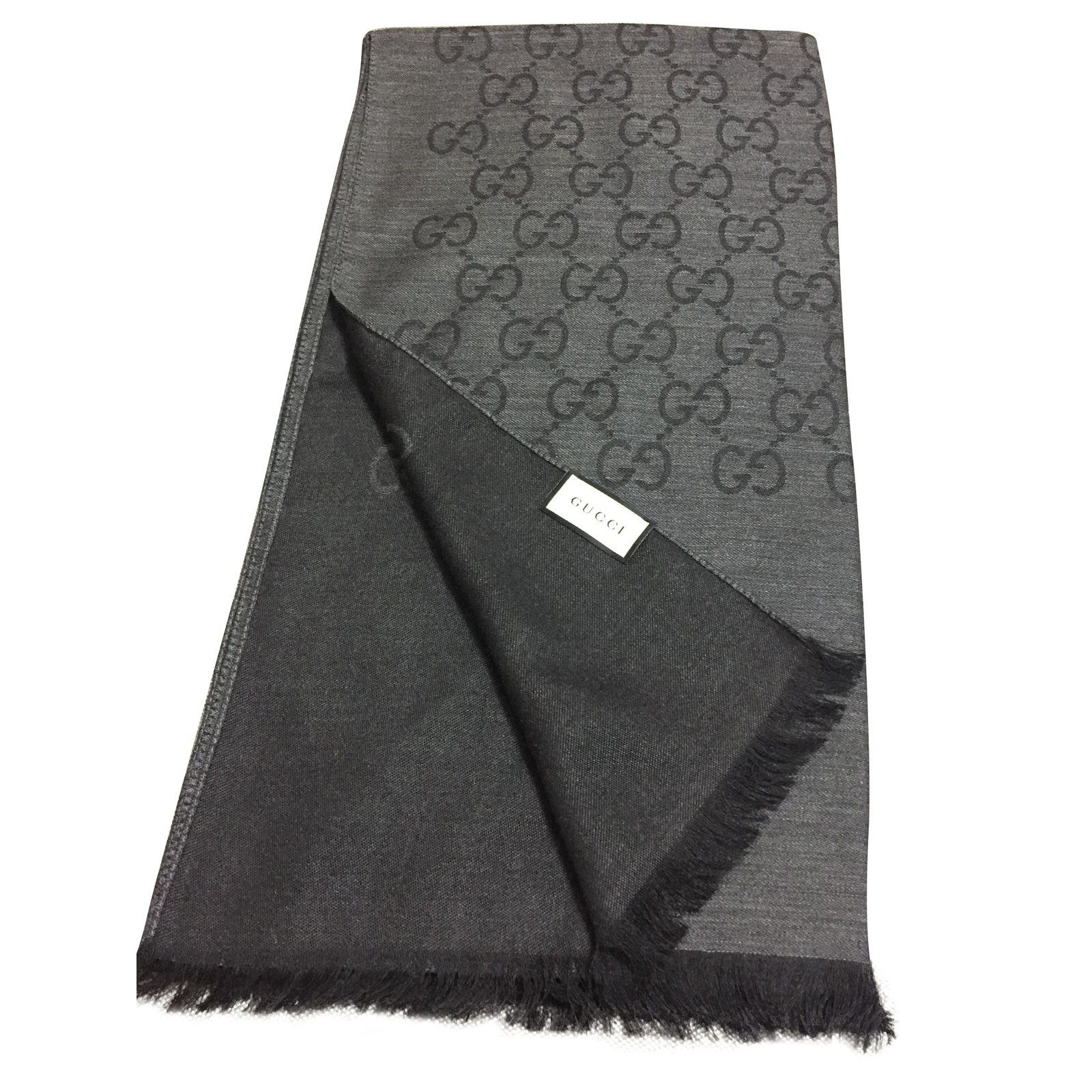 Carrés Gucci écharpe monogramme grand GG Laine Gris anthracite ref.89333 ecd596537a6
