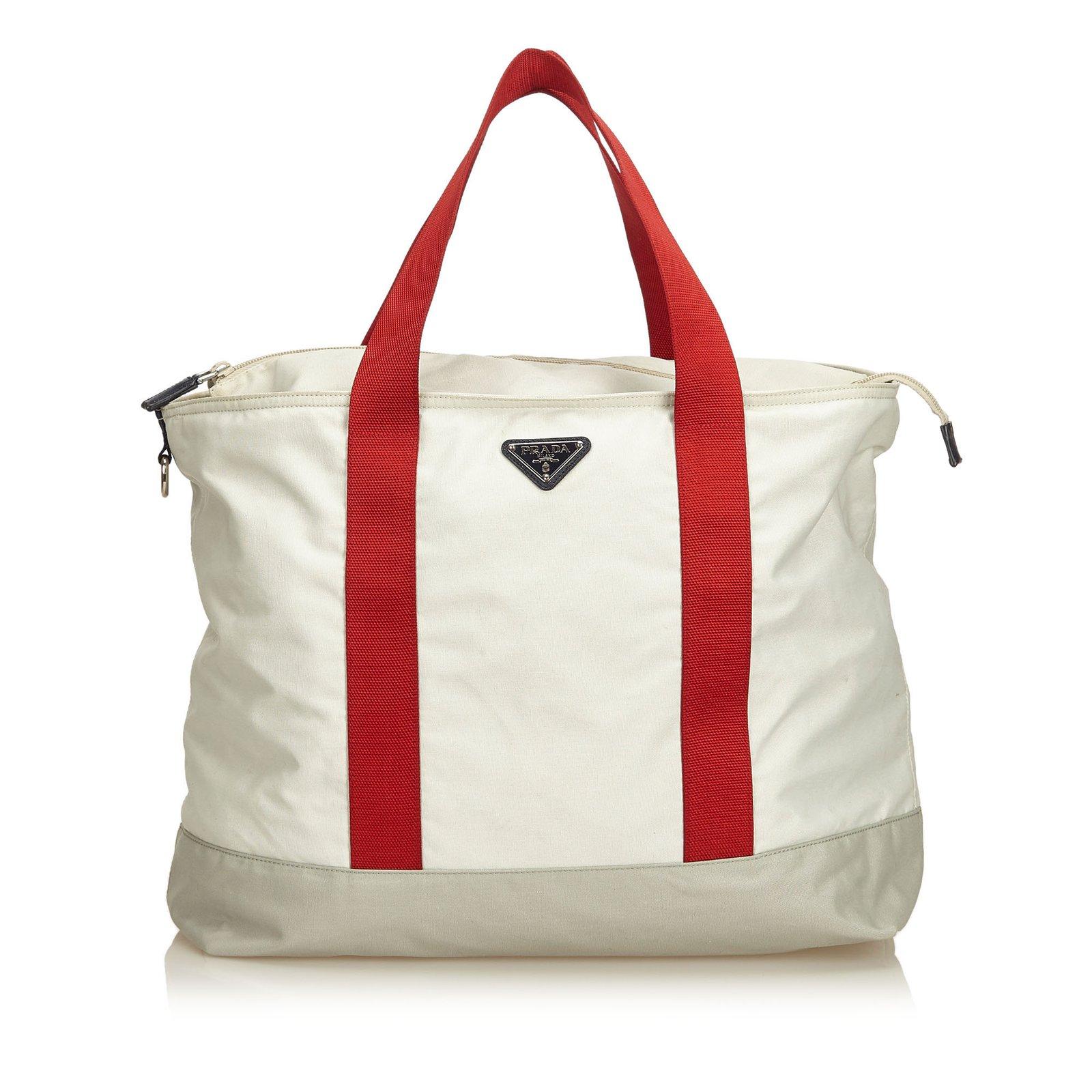 5a89f6d68b6265 Prada Nylon Tote Bag Totes Cloth,Nylon,Cloth White,Red,Cream ref ...