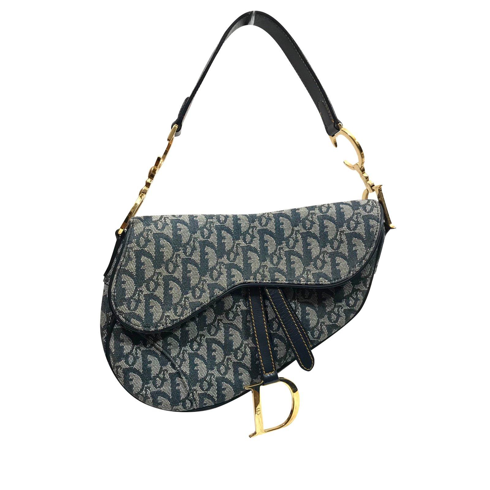 7086b392bfc Christian Dior Saddle Bag iconique Handbags Leather,Cloth Navy blue  ref.89642
