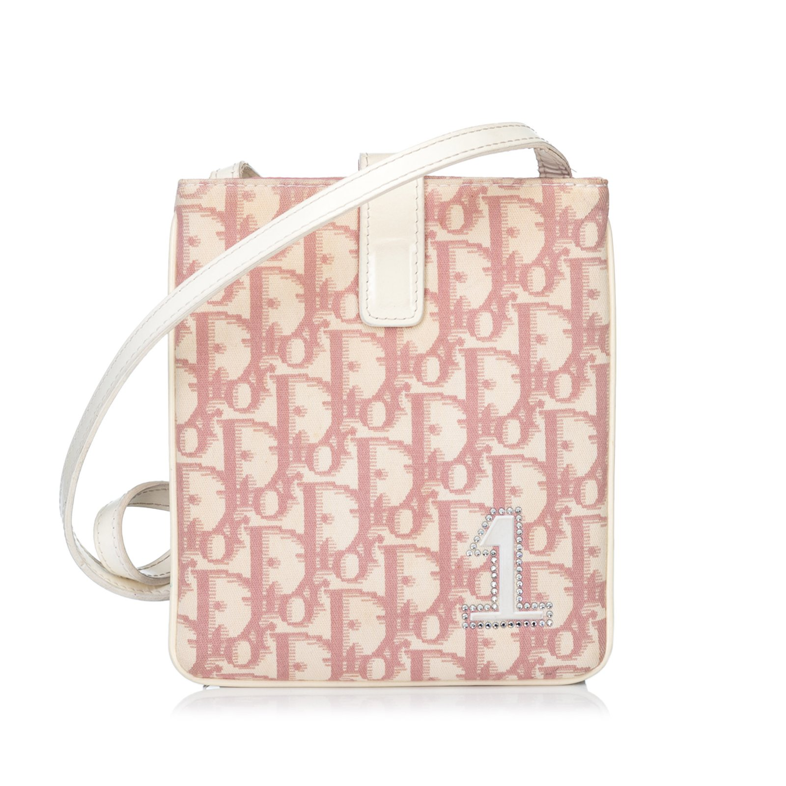 e82befb3a9 Dior Oblique Trotter Mini Crossbody Handbags Leather,Other,Plastic  Pink,White,Cream