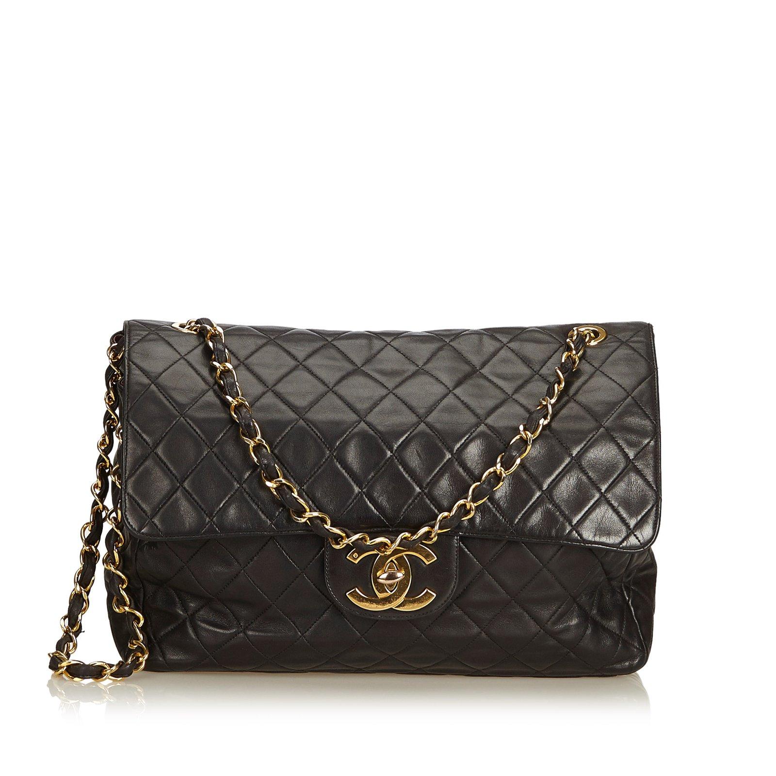 Sacs à main Chanel Sac à rabat simple en cuir d agneau Maxi classique Cuir 193747015ae