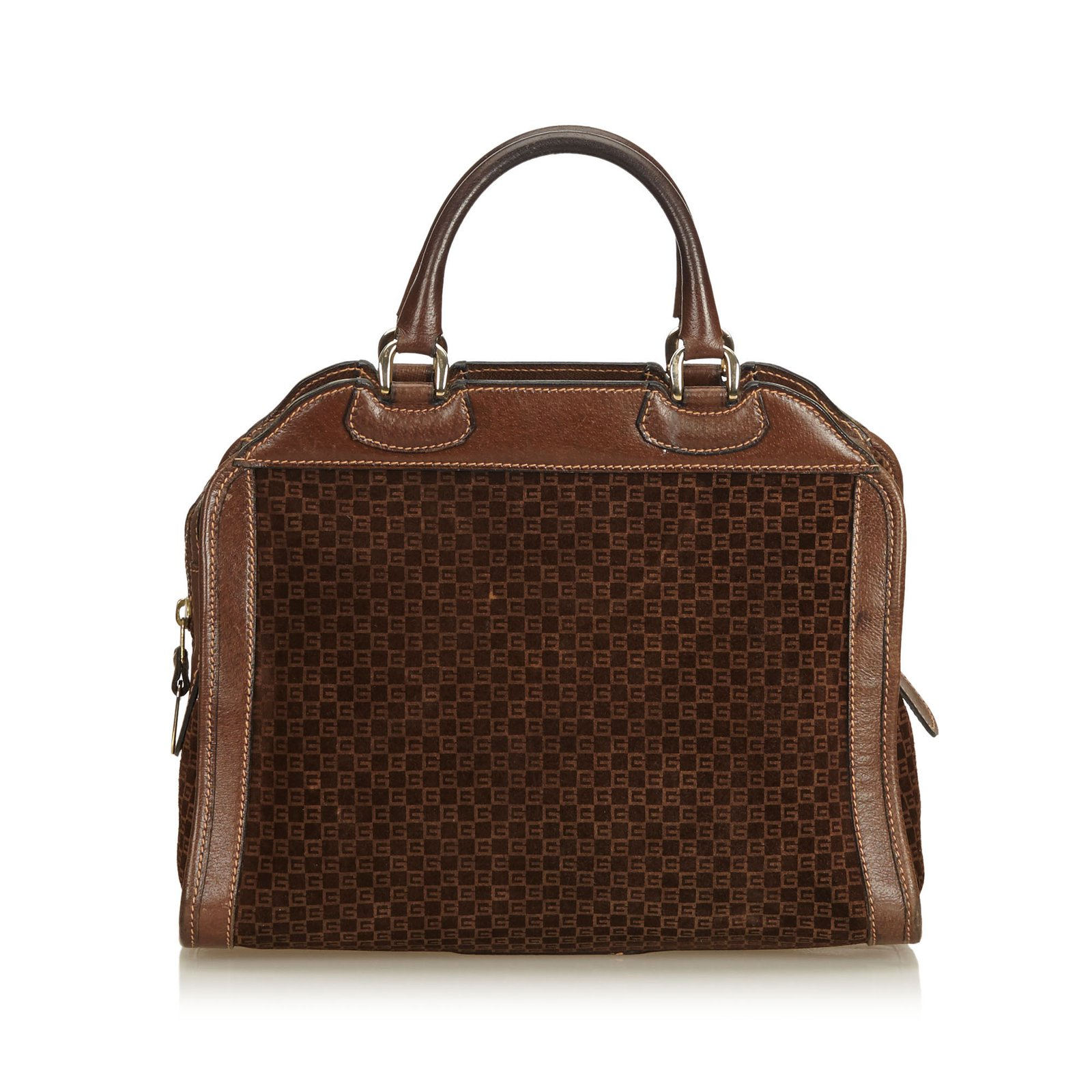 d5d5958ccd1d80 Gucci Old Gucci Suede Handbag Handbags Suede,Leather,Other Brown,Dark brown  ref