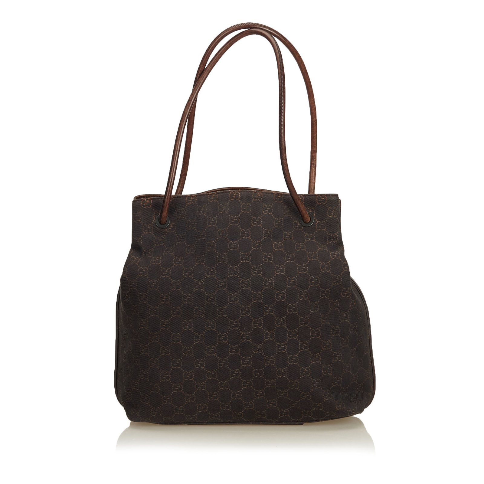 0eb7216228f1 Gucci GG Canvas Tote Totes Leather,Cloth,Pony-style calfskin,Cloth Brown