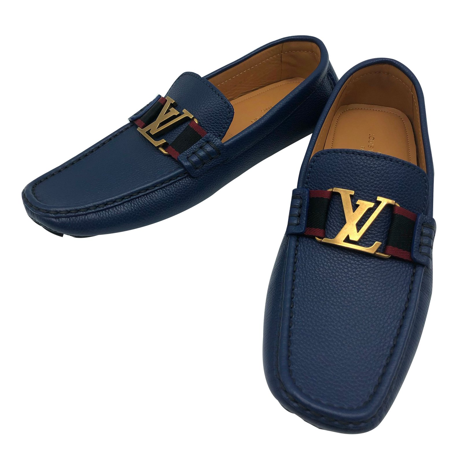 Loafers Slip ons Leather Navy blue ref