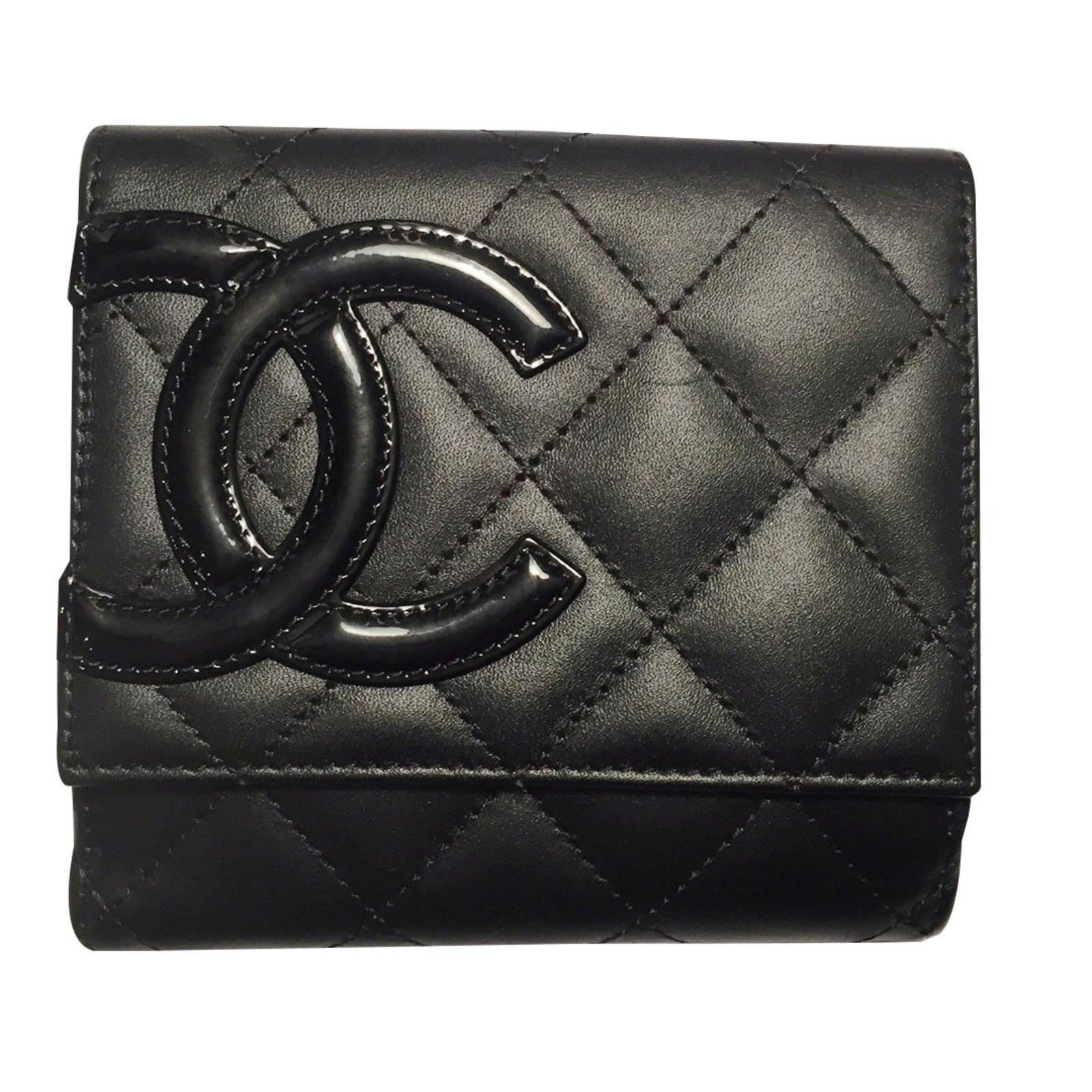 Petite maroquinerie Chanel Portefeuille Porte Monnaie compact Chanel Cambon  Cuir Noir ref.90177 d4327720f75