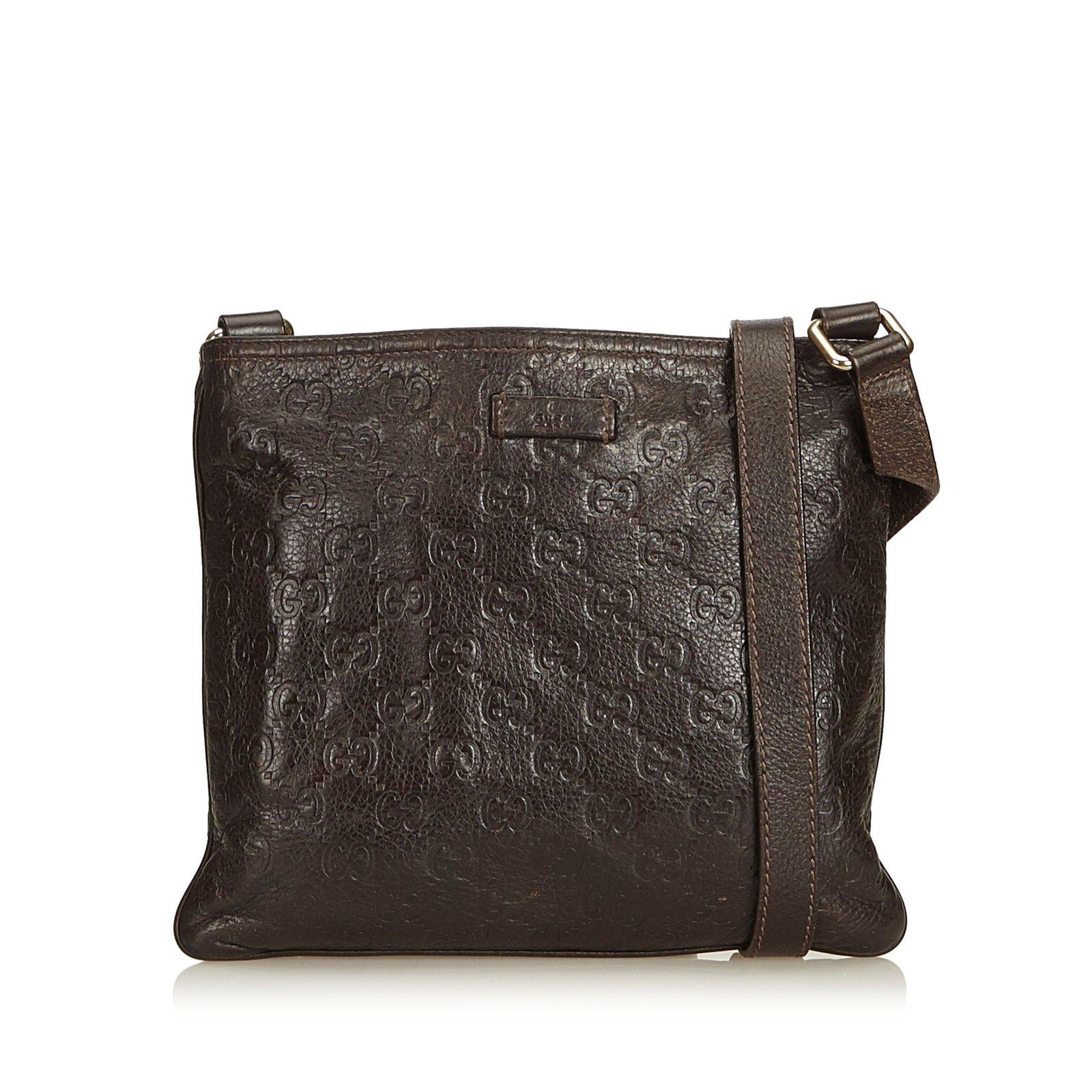 4fc8119bd76505 Gucci Guccissima Crossbody Bag Handbags Leather,Other Brown,Dark brown  ref.90225