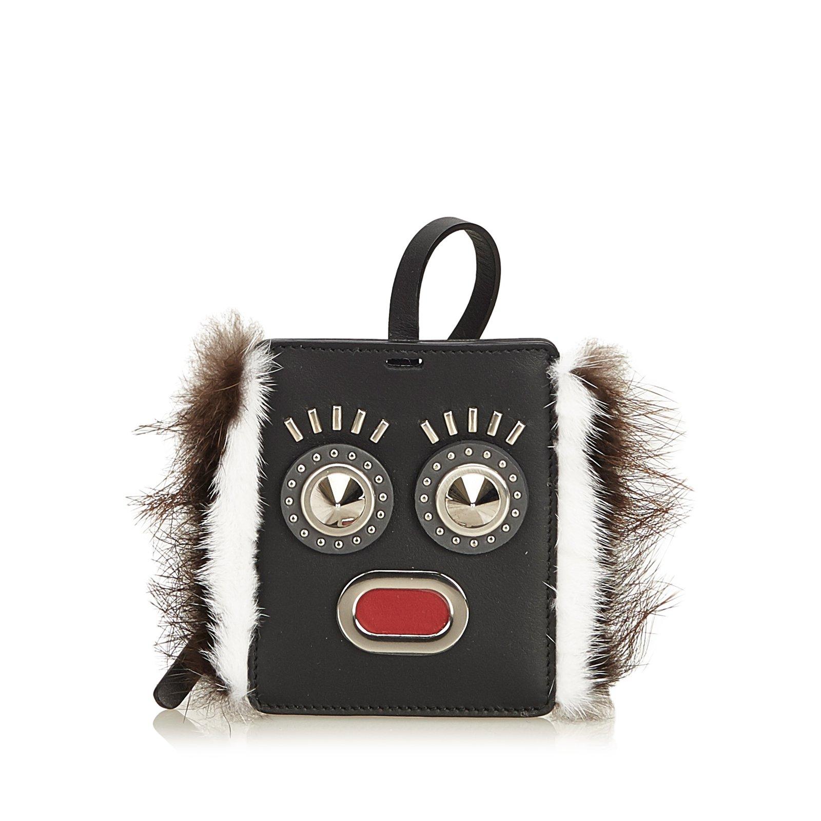 31d6953306 Fendi Fur-Trimmed Monster Face Bag Tag Purses