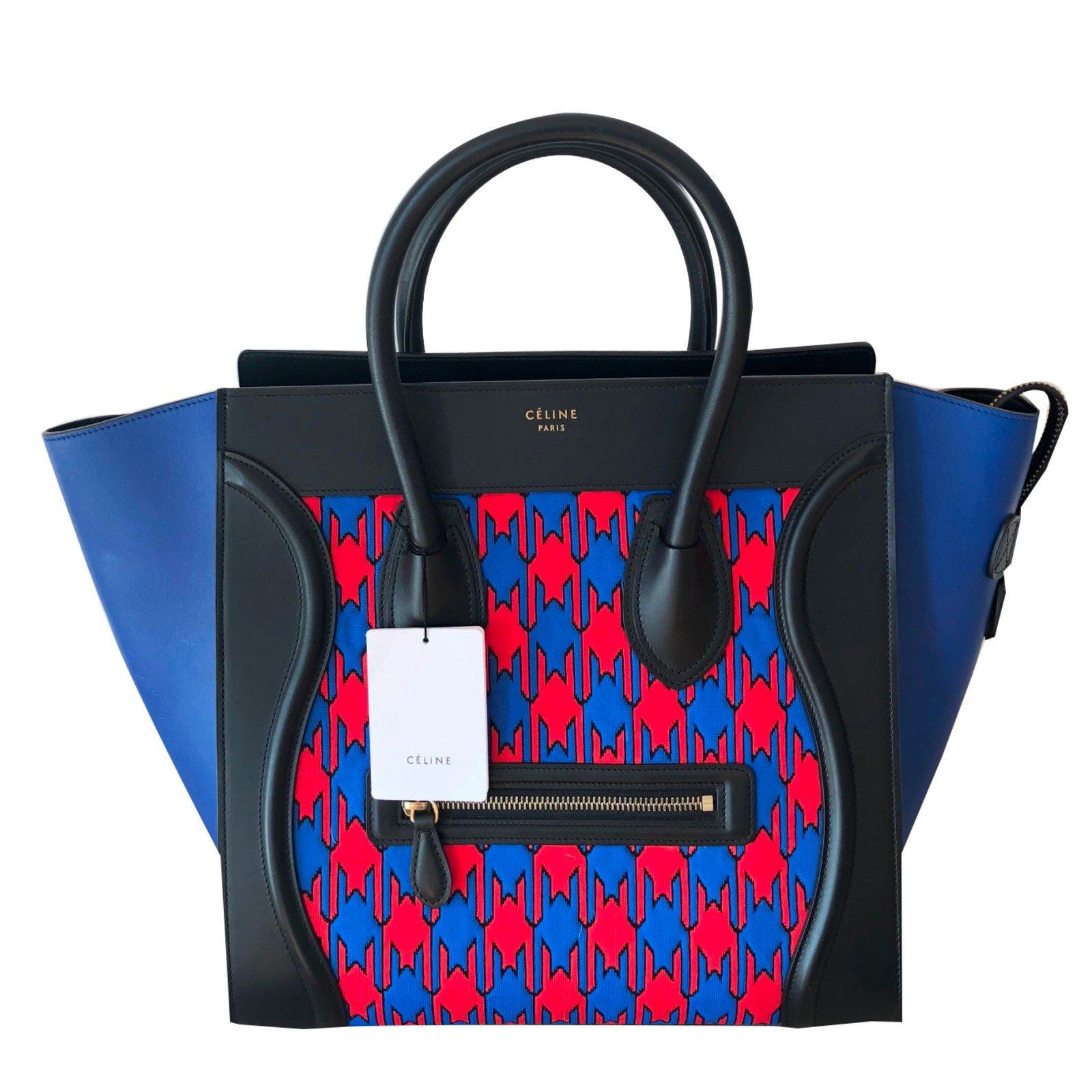Limitée Luggage Sac Céline Sacs Cuir Bleu À 90359 Main Ref Mini Edition wIHx60AZq