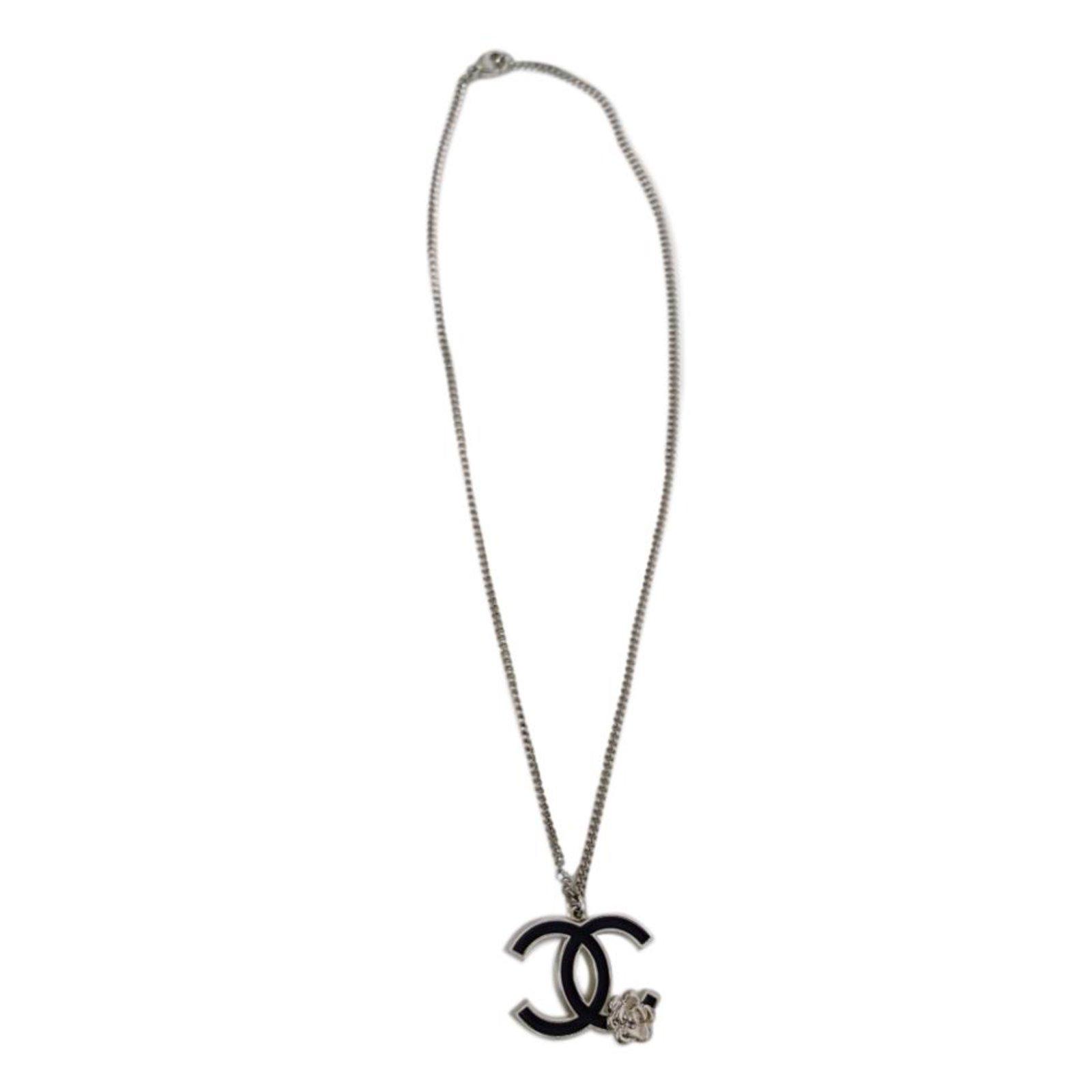16b2256230cd50 Chanel Camelia Long necklaces Steel Black,Silvery ref.90428 - Joli ...