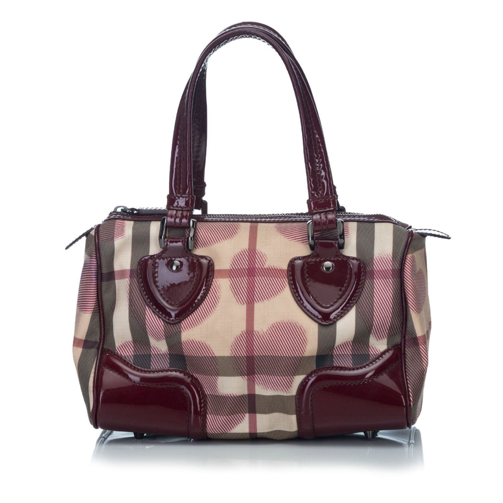 43b40109bbf Burberry Heart Print Boston Bag Handbags Leather,Other,Plastic  Brown,Red,Beige
