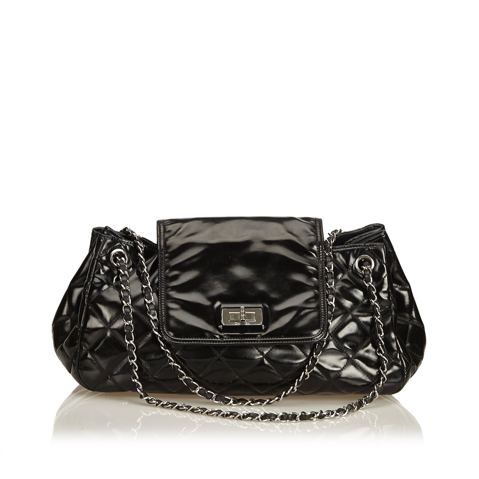 392615d49377 Chanel Patent Leather Reissue Accordion Flap Bag Handbags Leather,Patent  leather Black ref.90713