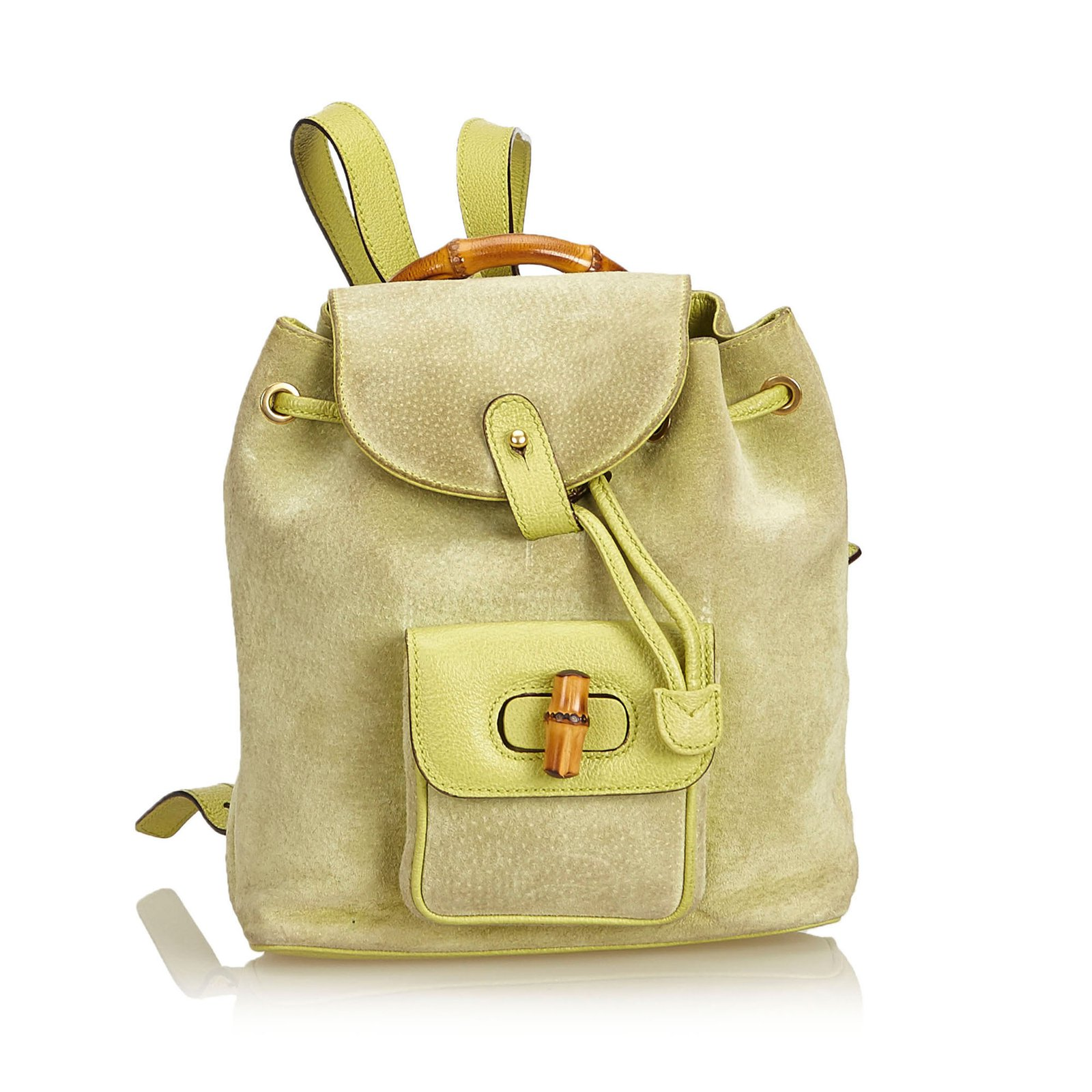 8e9ec4627d13 Gucci Bamboo Suede Drawstring Backpack Backpacks Suede,Leather,Other  Green,Light green ref