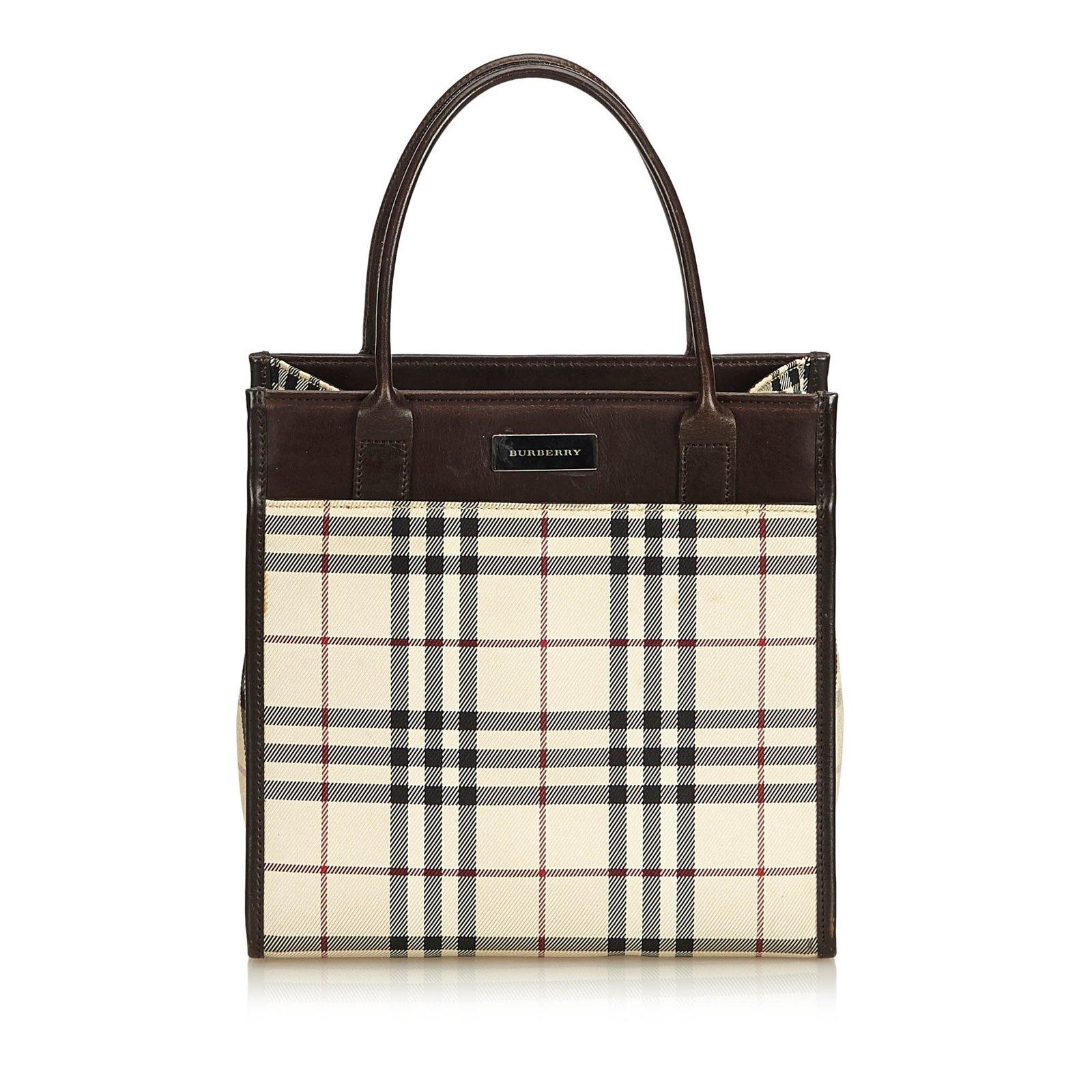 Burberry Plaid Coated Canvas Handbag Handbags Leather Other Cloth Brown Multiple