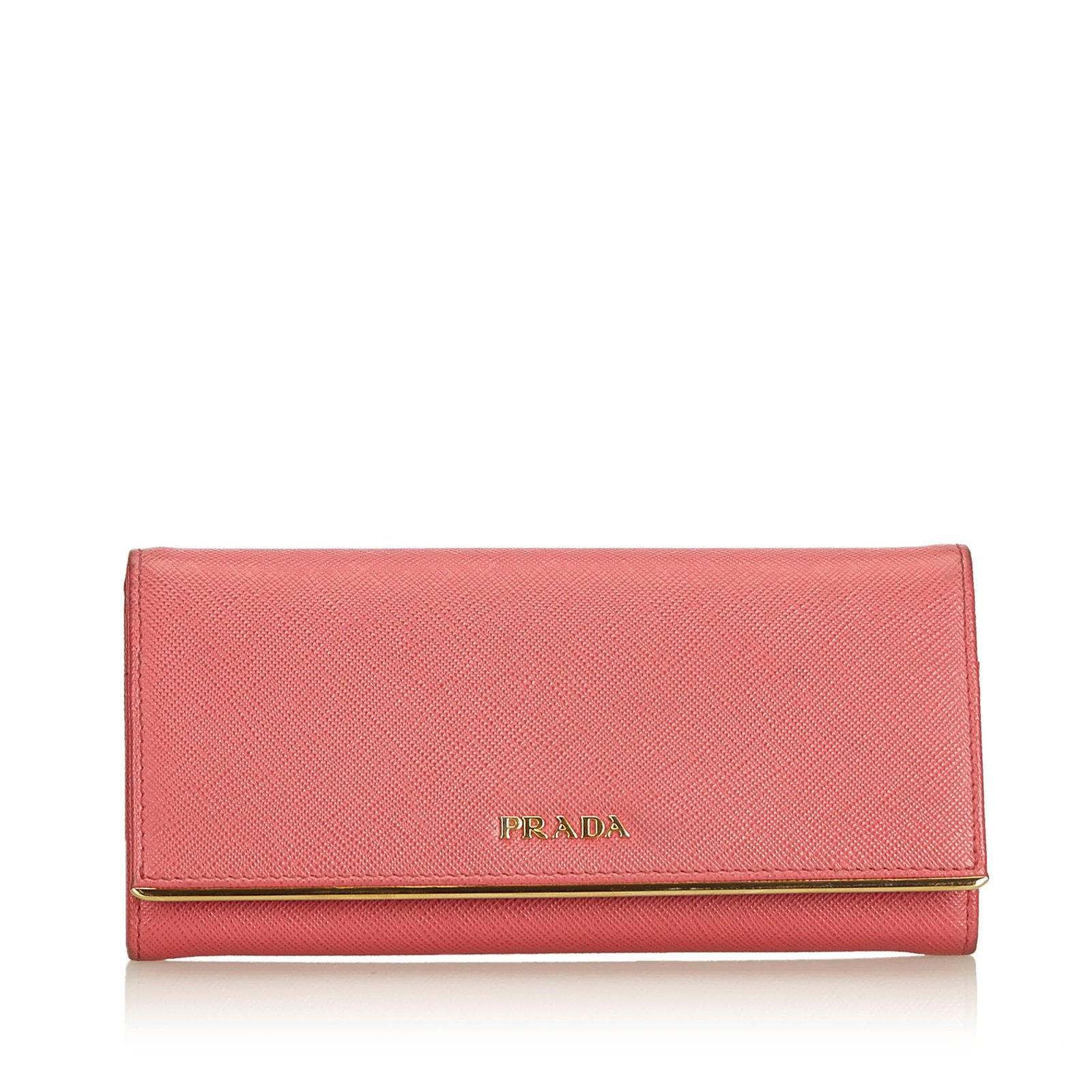 5d55b9832f8104 Prada Leather Long Wallet Purses, wallets, cases Leather,Other Pink  ref.90793