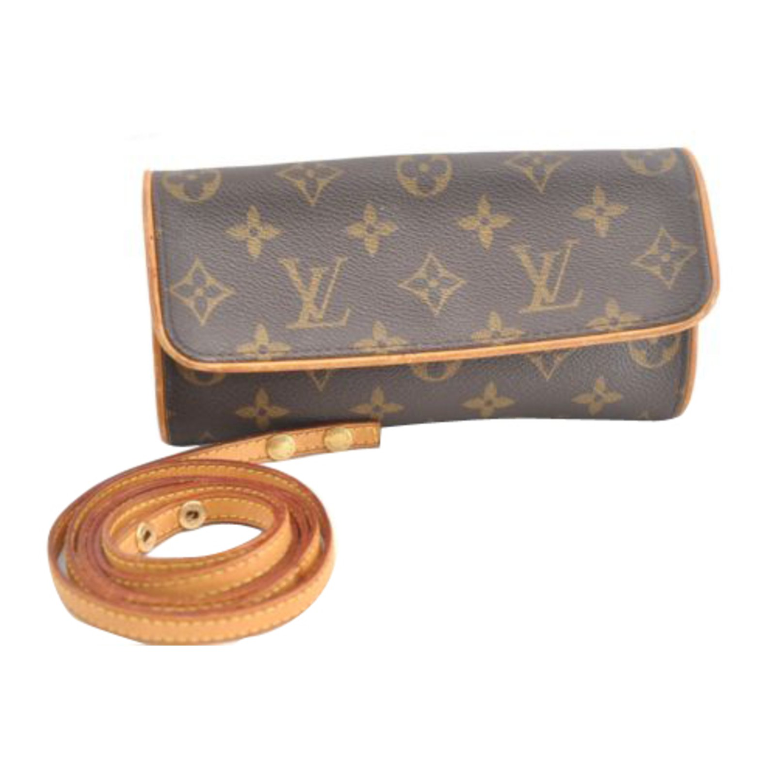 Louis Vuitton Twin Pm Pouch Handbags Cloth Brown Ref 90849