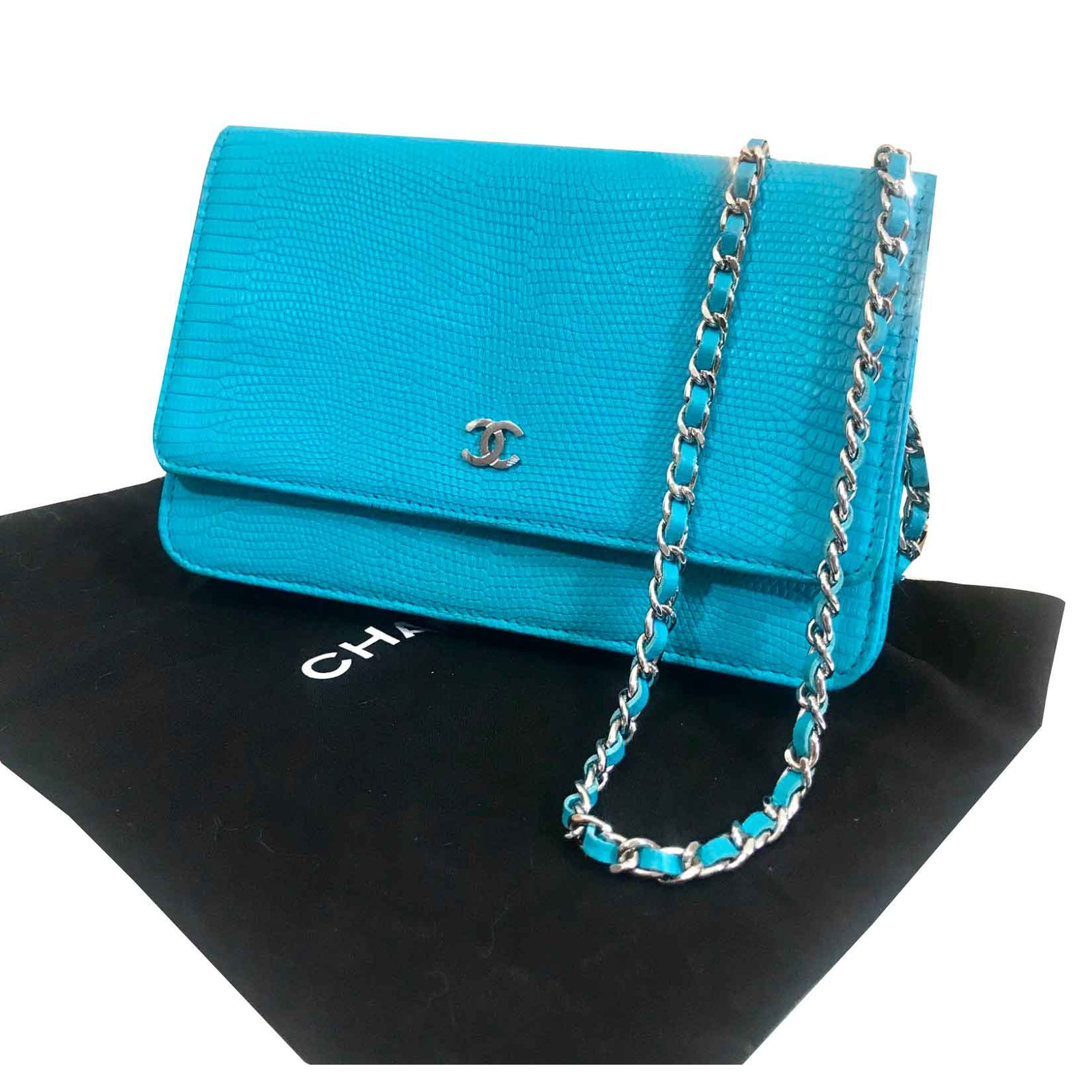 a8bee57ae965 Chanel WOC Handbags Leather Turquoise ref.90930 - Joli Closet