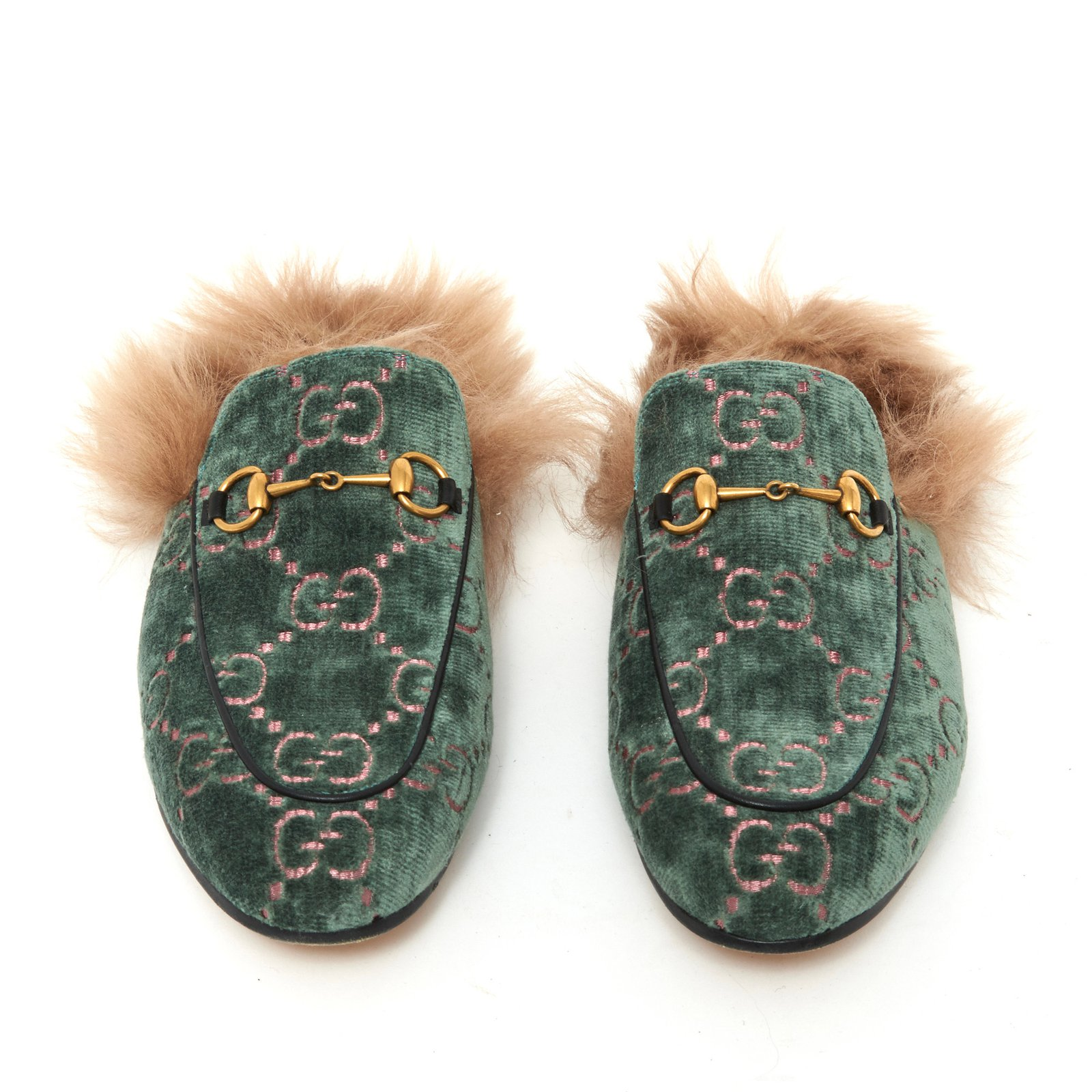 8ea5d0738 Gucci Princetown velvet Flats Velvet Light green ref.90985 - Joli Closet