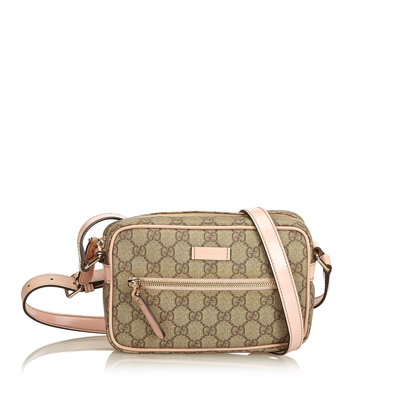 d63fe22a305cd9 Gucci Guccissima Canvas Crossbody bag Handbags Leather,Other,Plastic  Brown,Pink,Dark