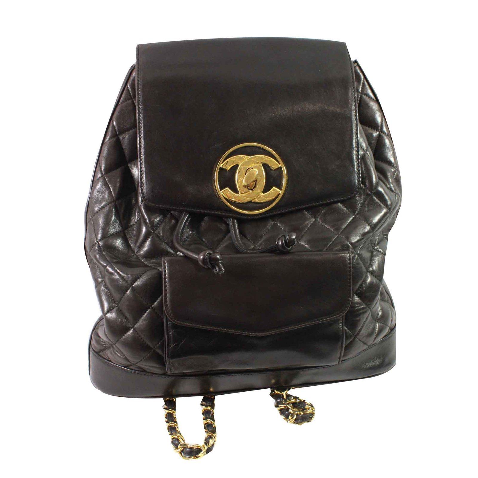 sacs dos chanel sac dos cuir marron joli. Black Bedroom Furniture Sets. Home Design Ideas