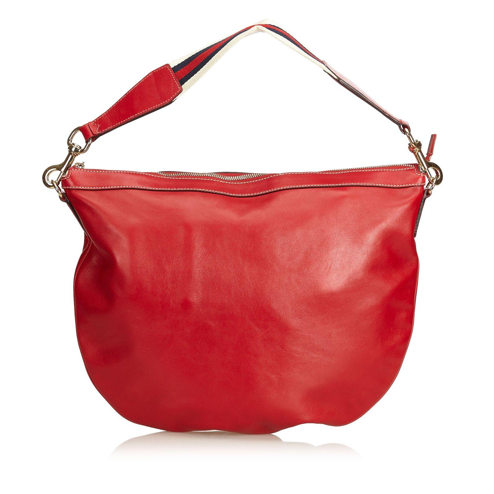 f1127321013ef0 Gucci Web Leather Shoulder Bag Handbags Leather,Other Red ref.91319 ...