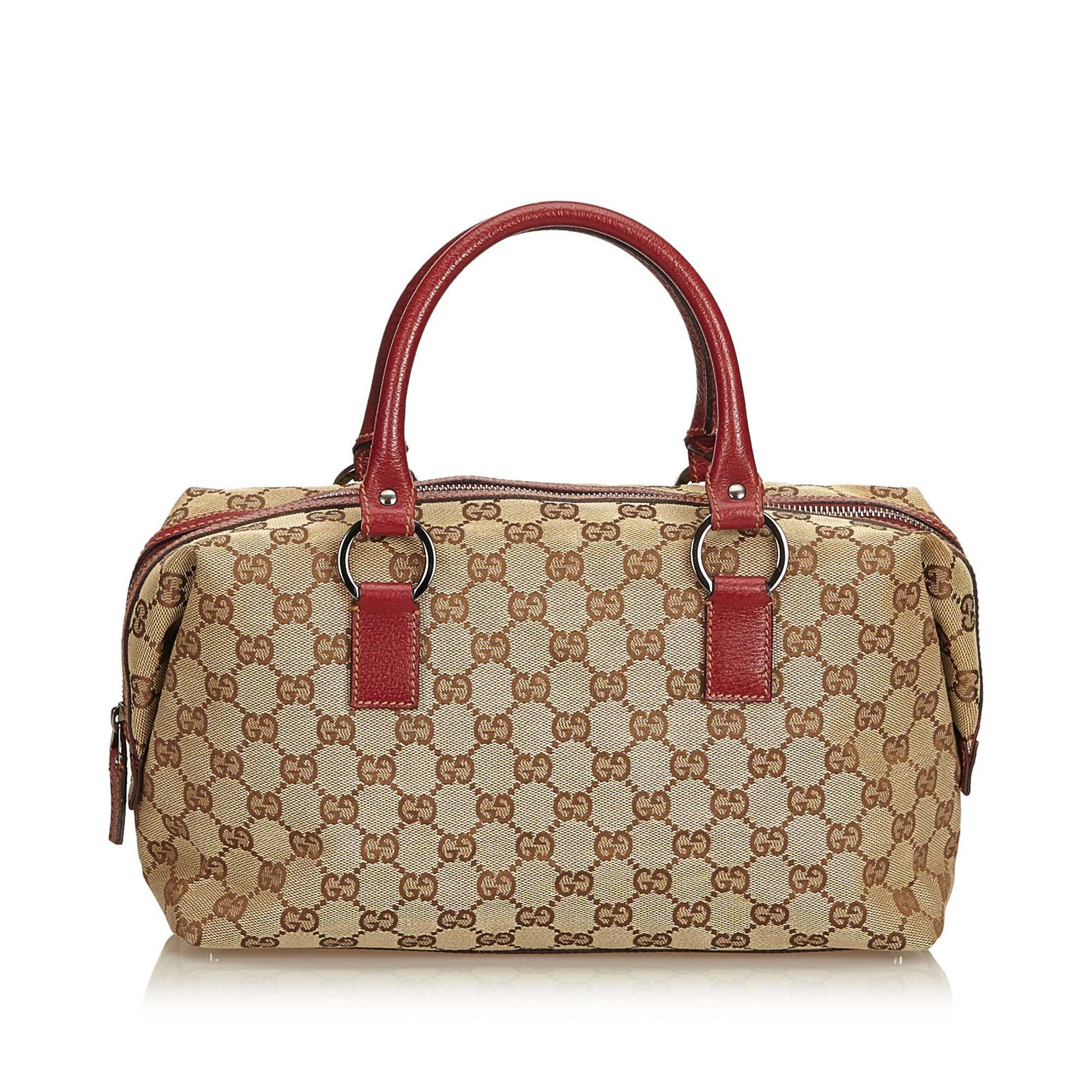 78b41a1c6 Gucci Guccissima Jacquard Boston Bag Handbags Leather,Other,Cloth Brown ,Red,Beige