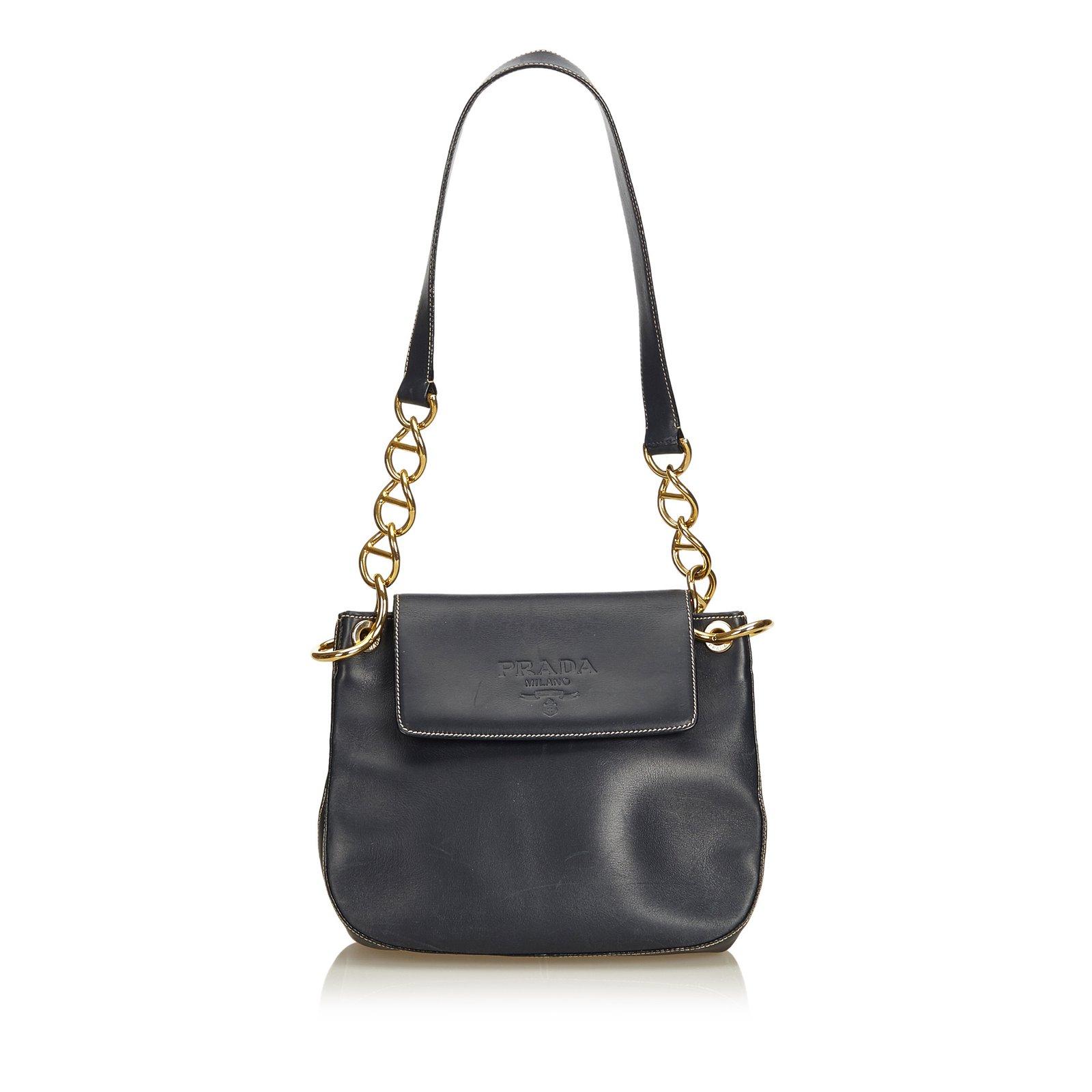 b4cbfa8e41ef Prada Calf Leather Chain Shoulder Bag Handbags Leather ,Silver,Metal,Pony-style